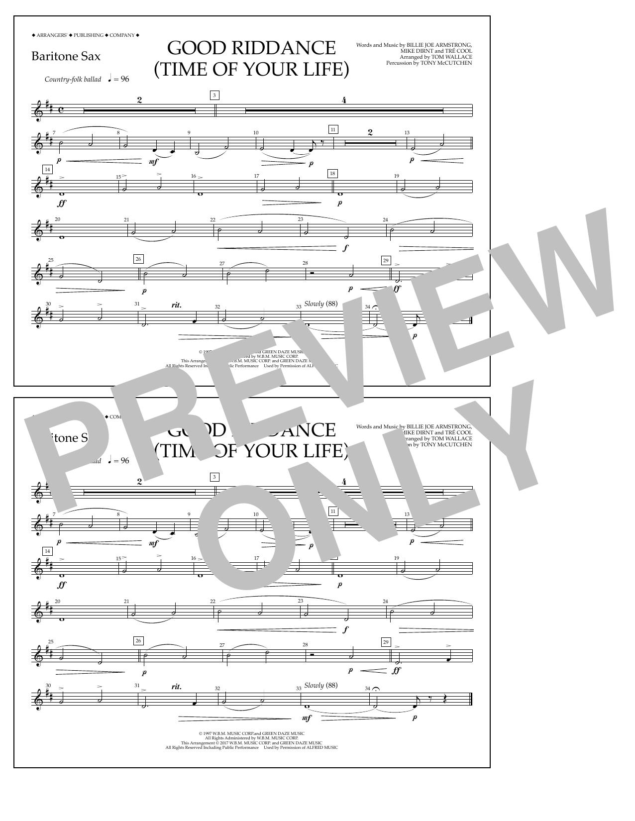 Good Riddance (Time of Your Life) - Baritone Sax Sheet Music