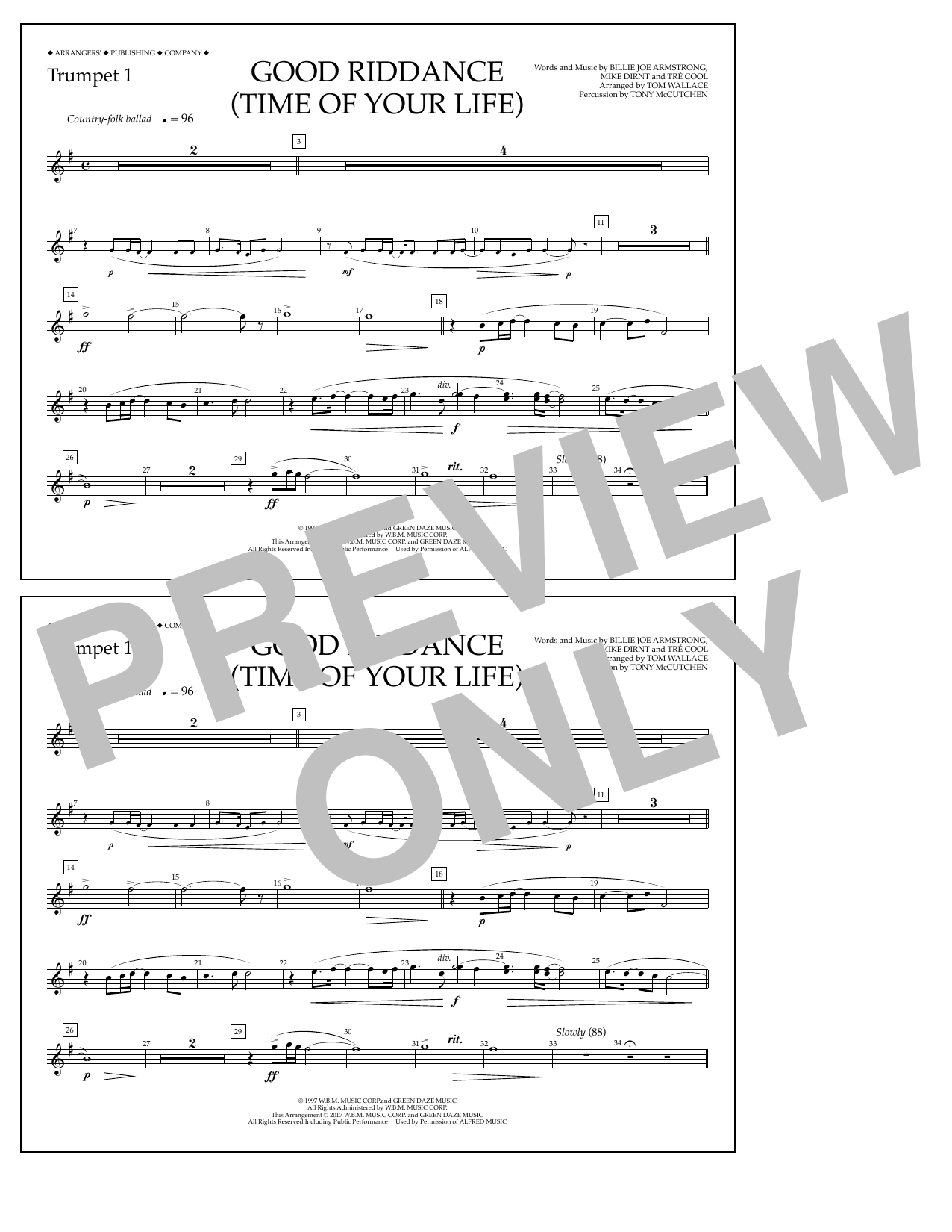 Good Riddance (Time of Your Life) - Trumpet 1 Sheet Music