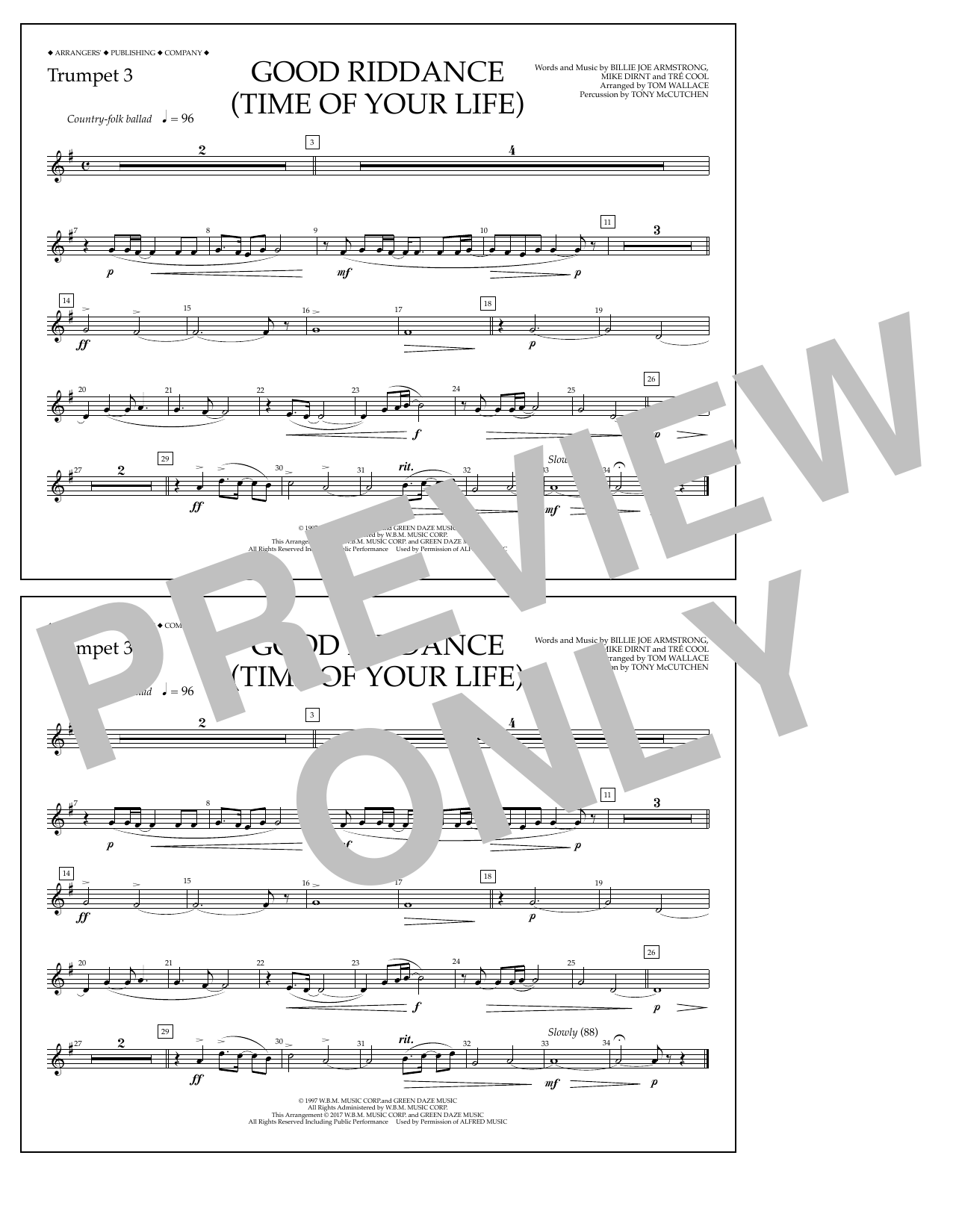Good Riddance (Time of Your Life) - Trumpet 3 Sheet Music
