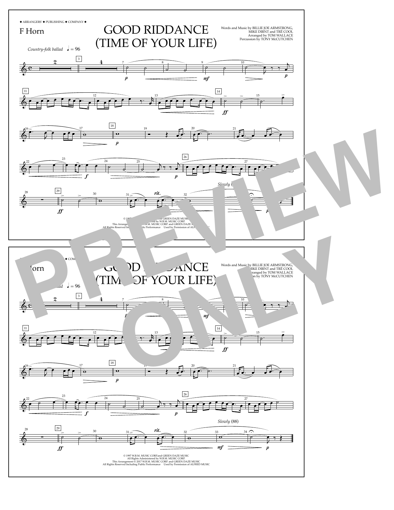 Good Riddance (Time of Your Life) - F Horn Sheet Music