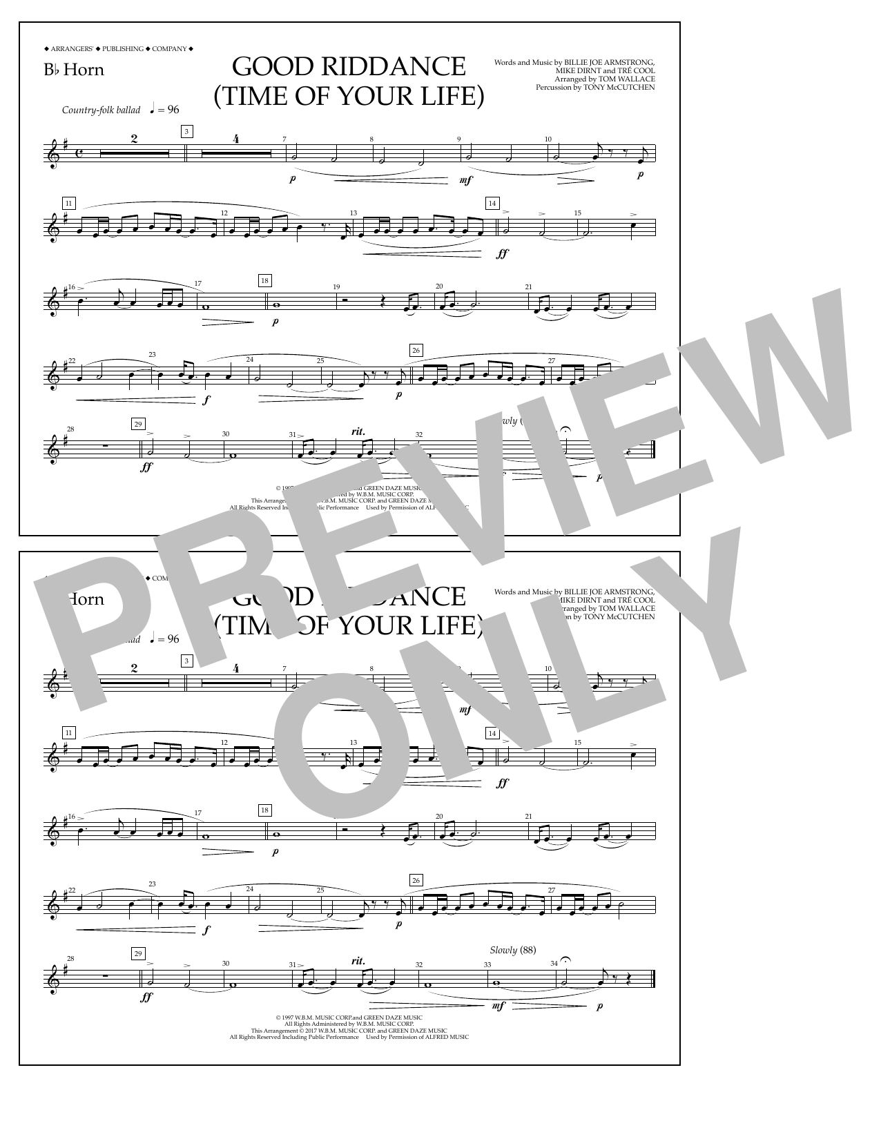 Good Riddance (Time of Your Life) - Bb Horn Sheet Music