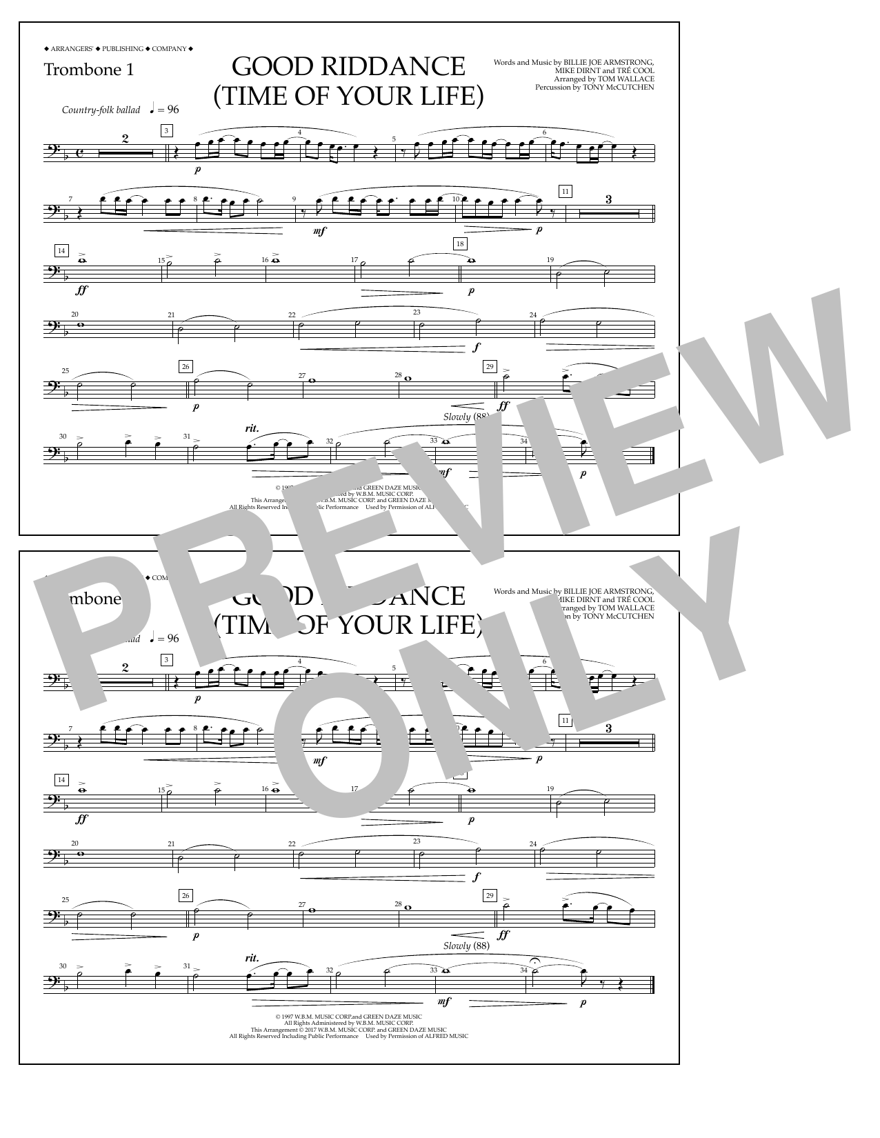 Good Riddance (Time of Your Life) - Trombone 1 Sheet Music