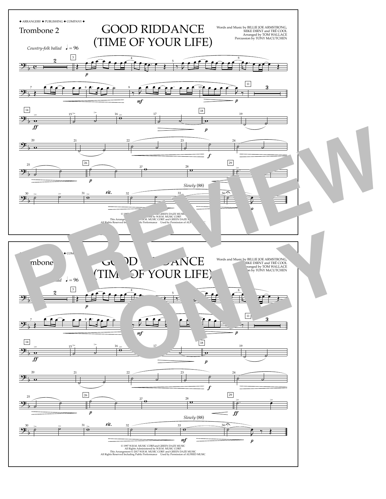 Good Riddance (Time of Your Life) - Trombone 2 Sheet Music