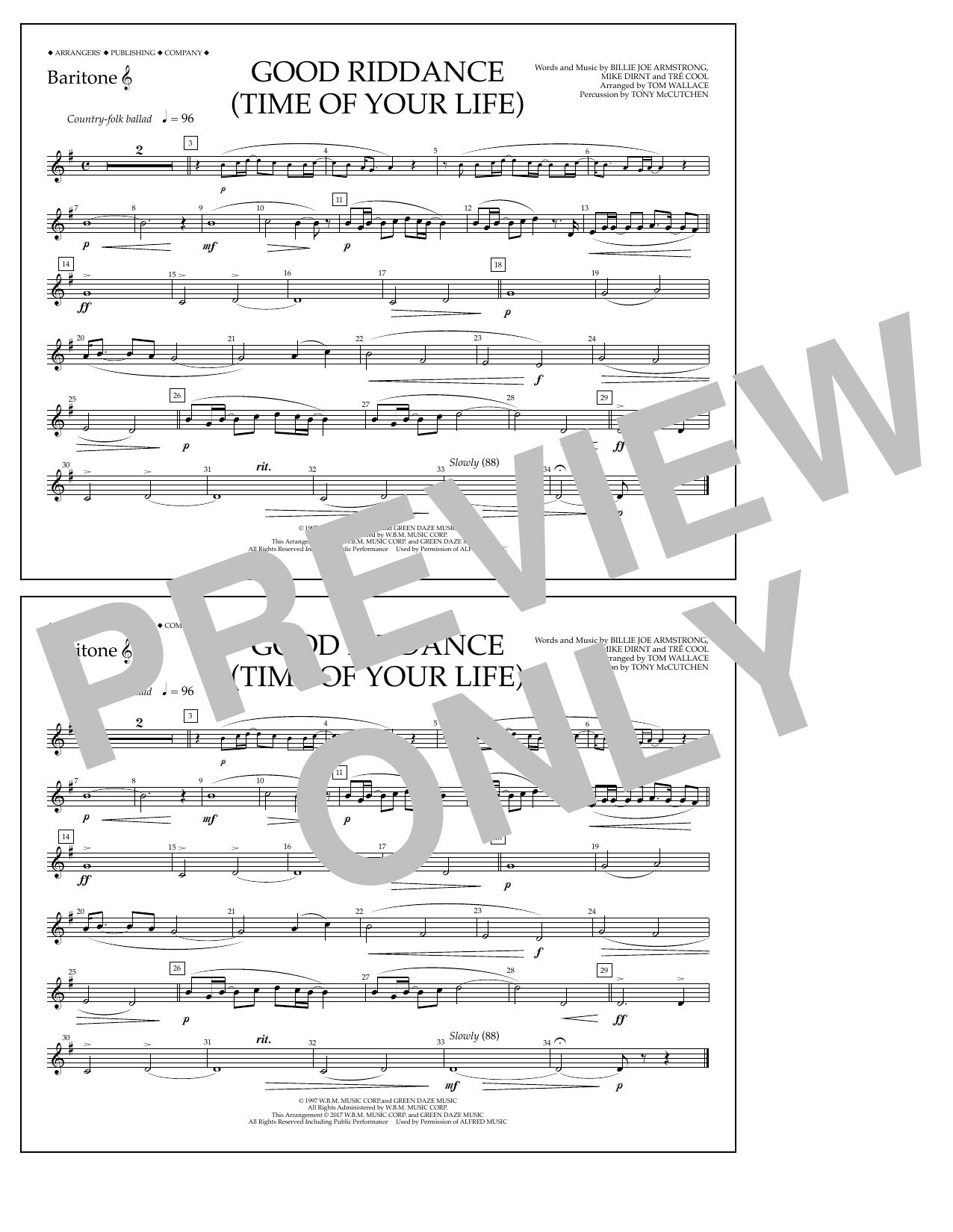 Good Riddance (Time of Your Life) - Baritone T.C. Partition Digitale