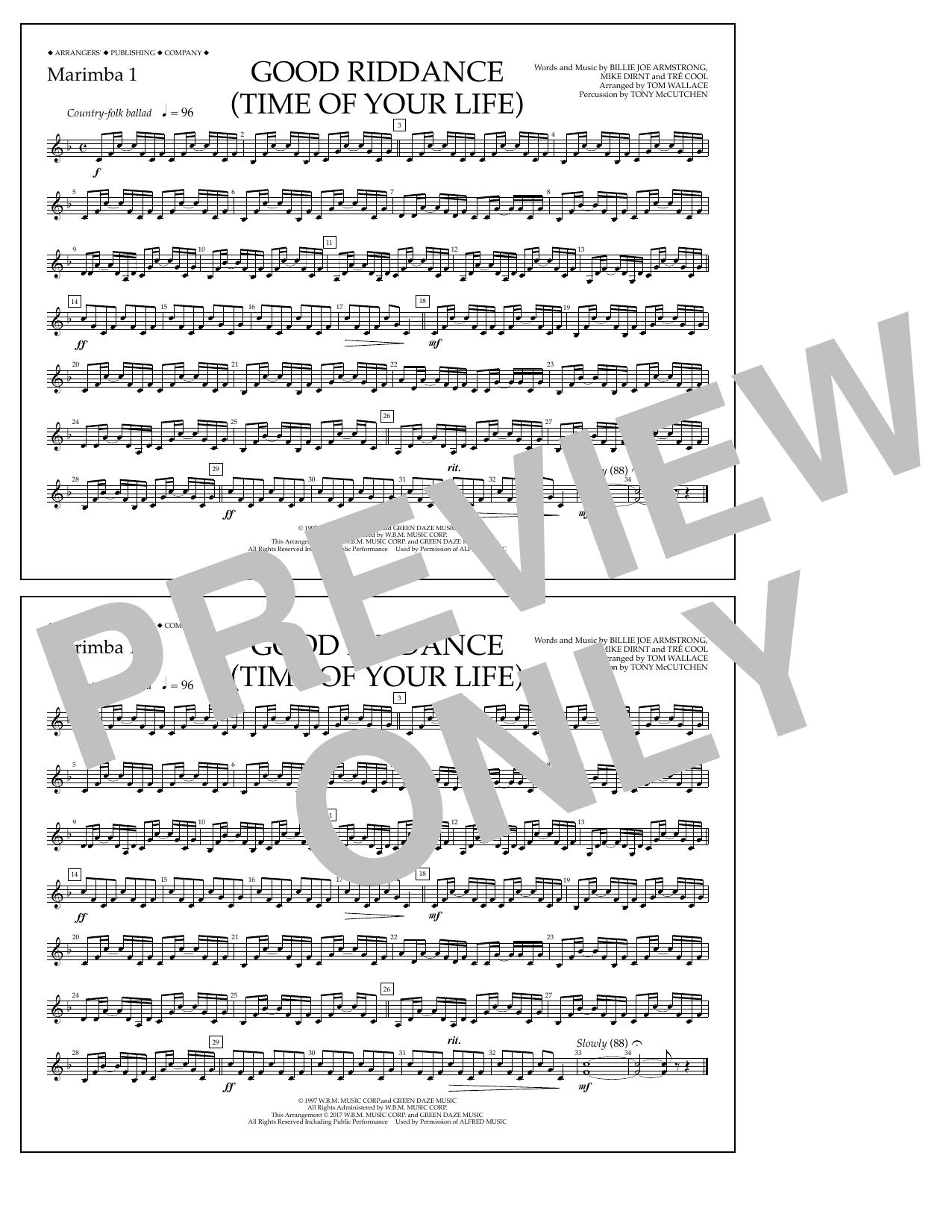 Good Riddance (Time of Your Life) - Marimba 1 Sheet Music