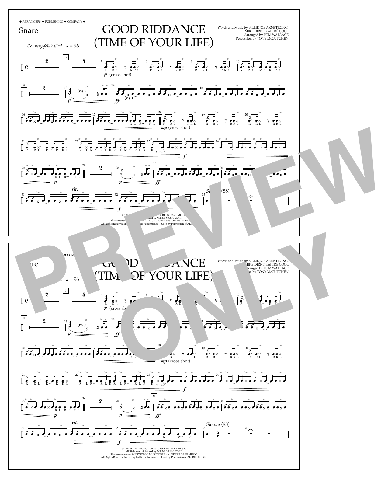 Good Riddance (Time of Your Life) - Snare Sheet Music
