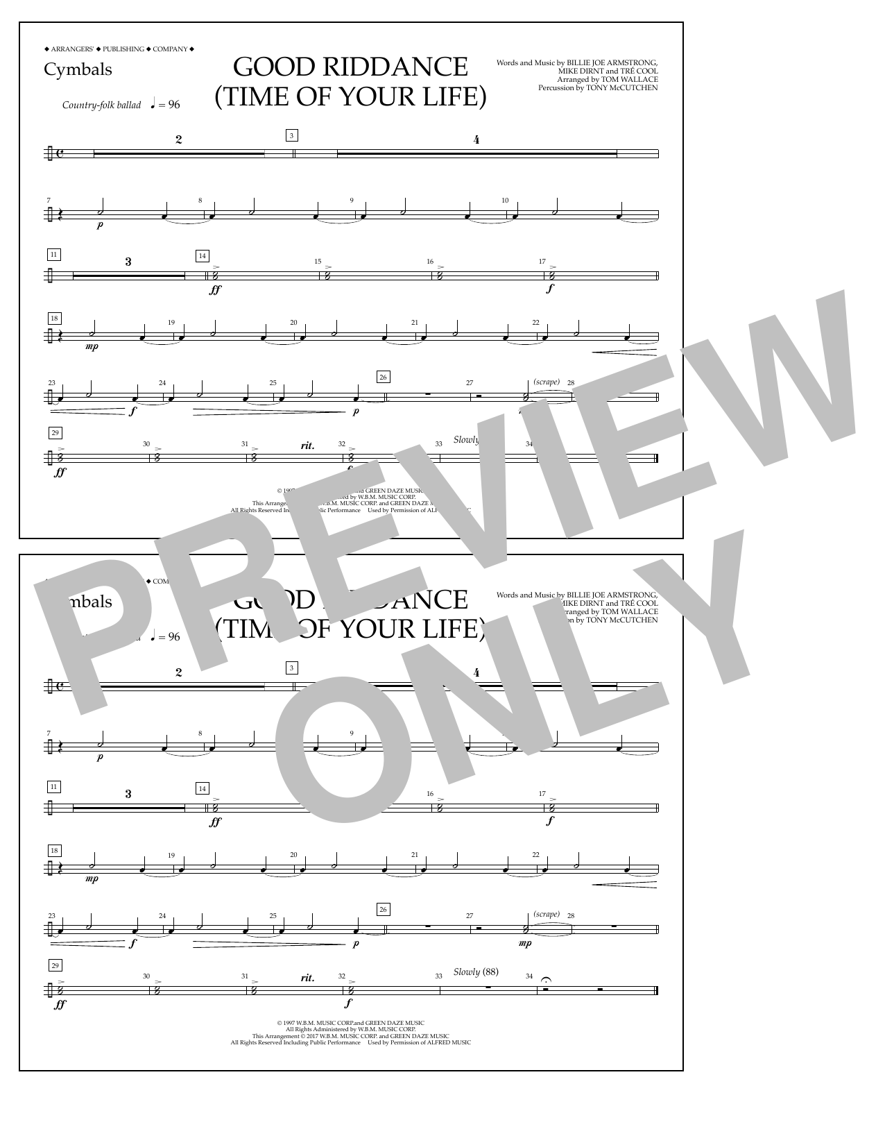 Good Riddance (Time of Your Life) - Cymbals Sheet Music
