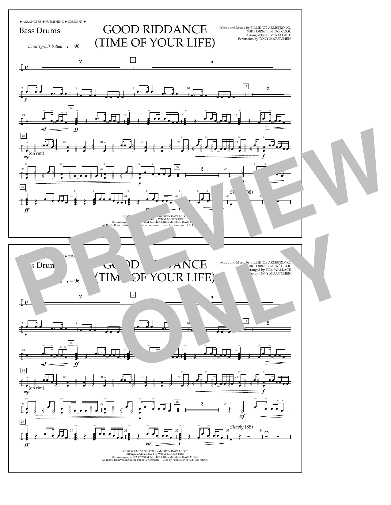 Good Riddance (Time of Your Life) - Bass Drums Sheet Music