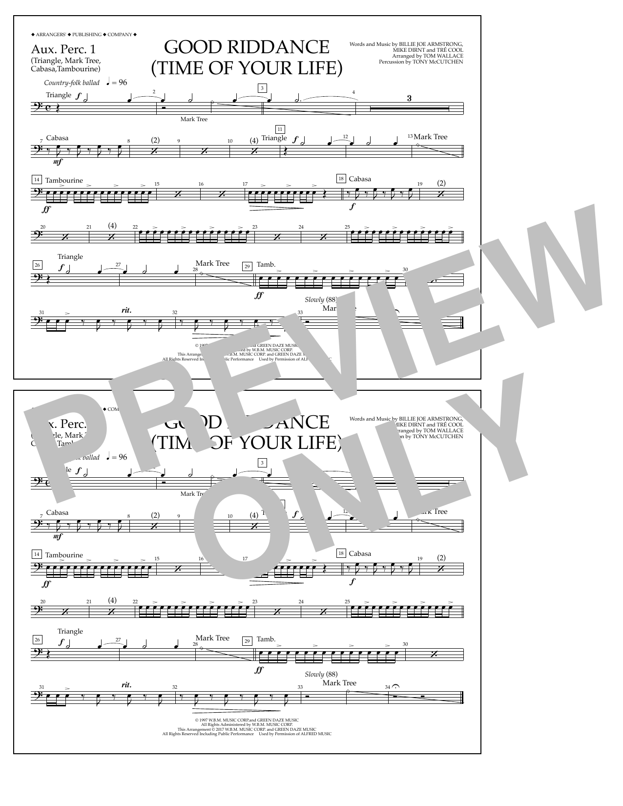Good Riddance (Time of Your Life) - Aux. Perc. 1 Sheet Music