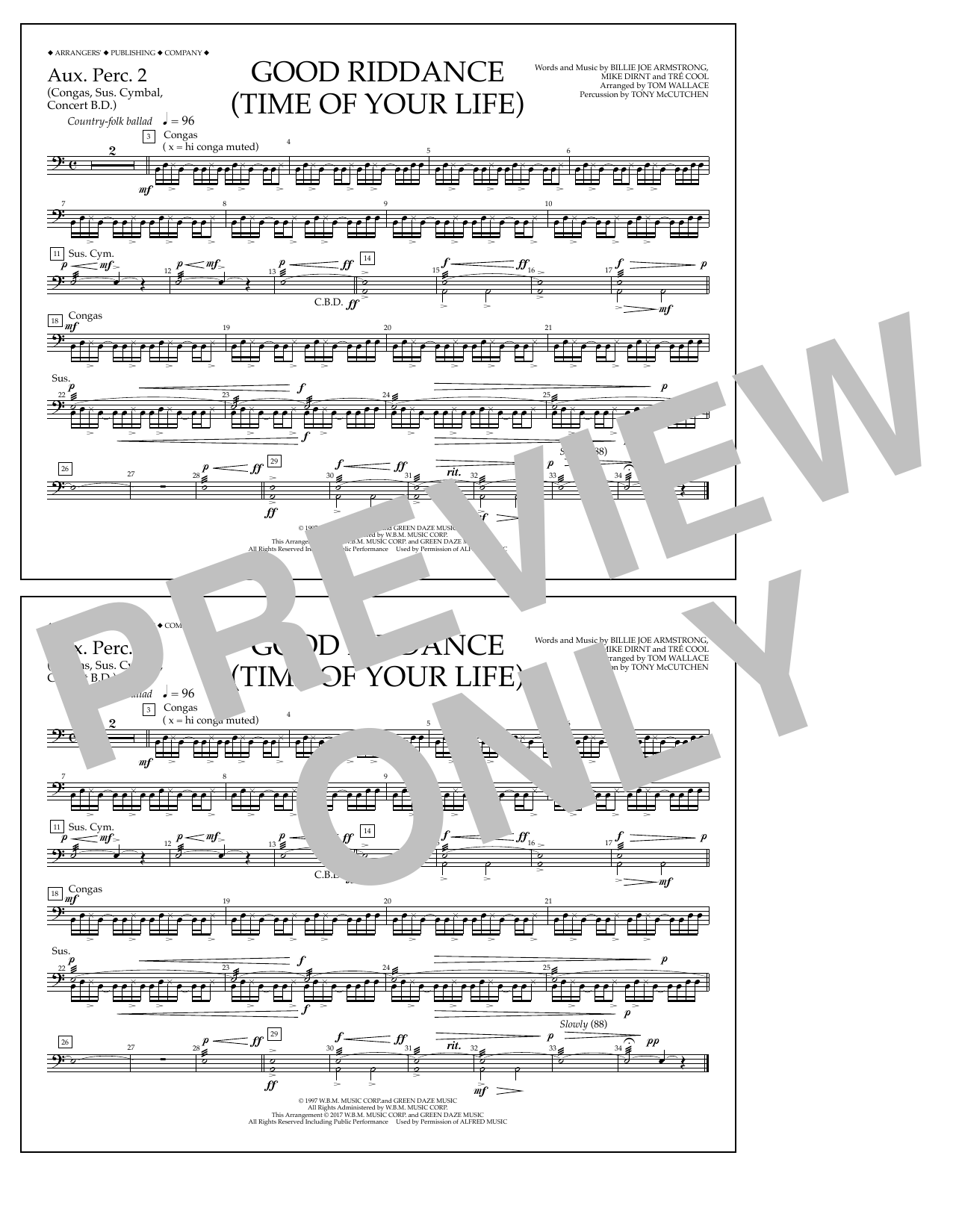 Good Riddance (Time of Your Life) - Aux. Perc. 2 Sheet Music