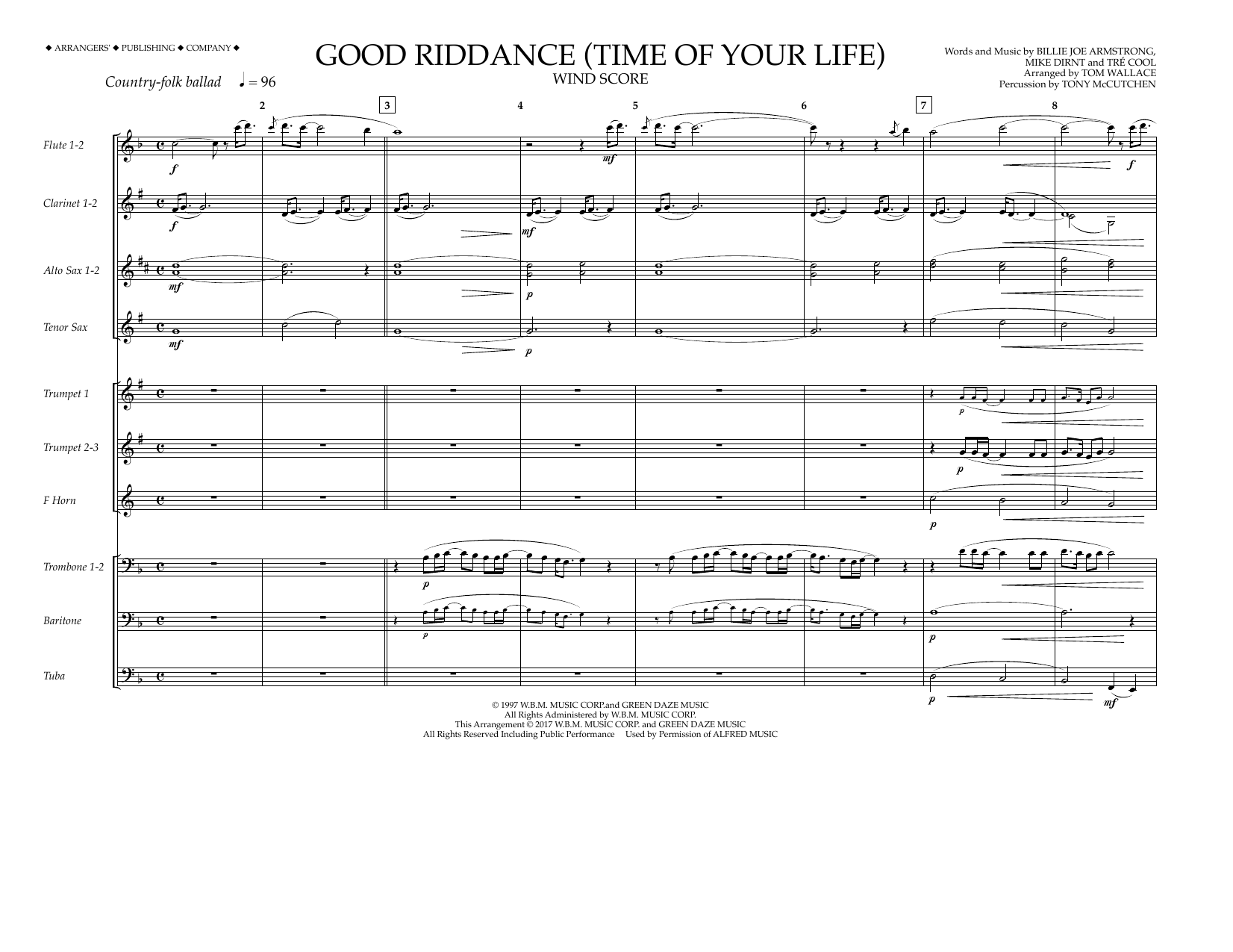 Good Riddance (Time of Your Life) - Wind Score Sheet Music