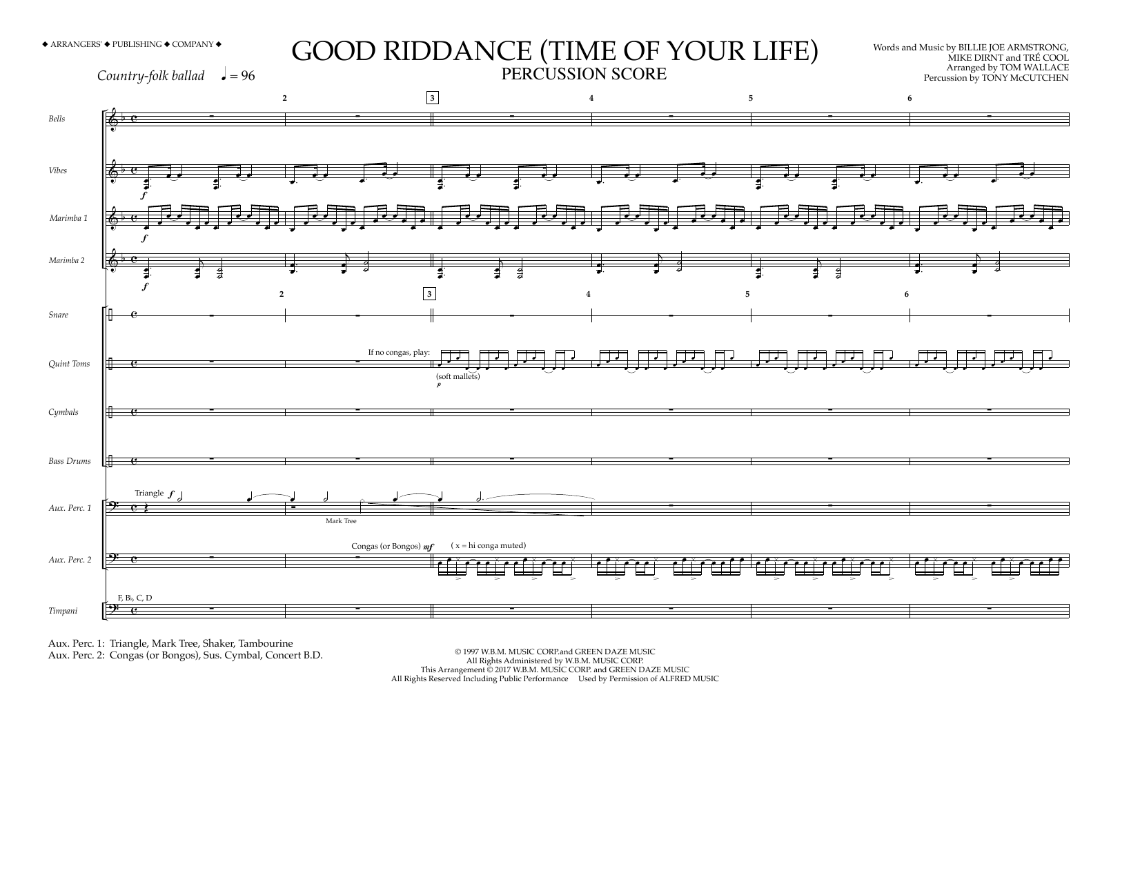 Good Riddance (Time of Your Life) - Percussion Score Sheet Music