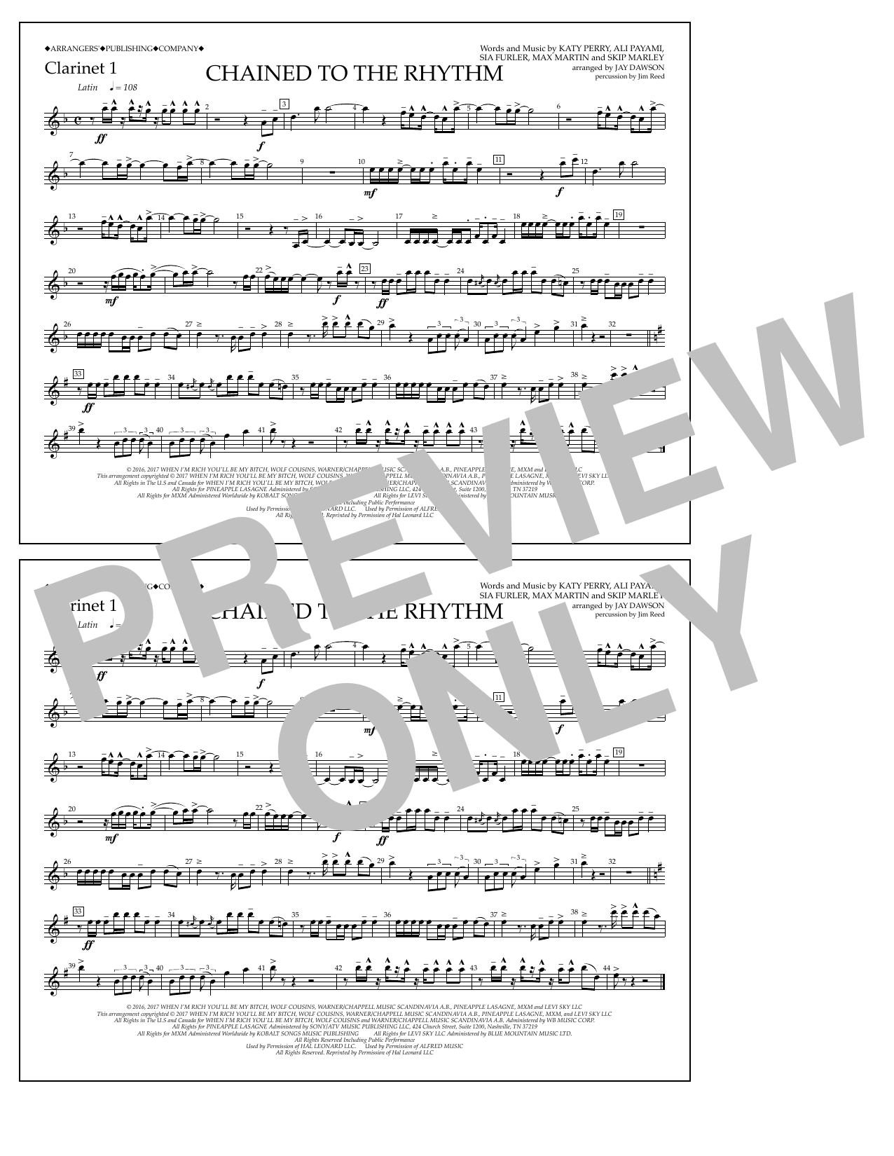 Chained to the Rhythm - Clarinet 1 Sheet Music