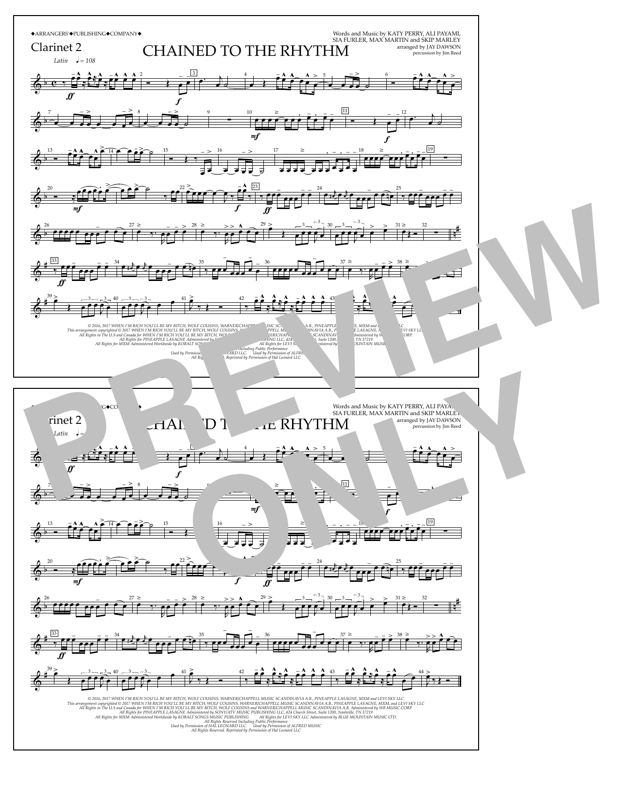 Chained to the Rhythm - Clarinet 2 Sheet Music