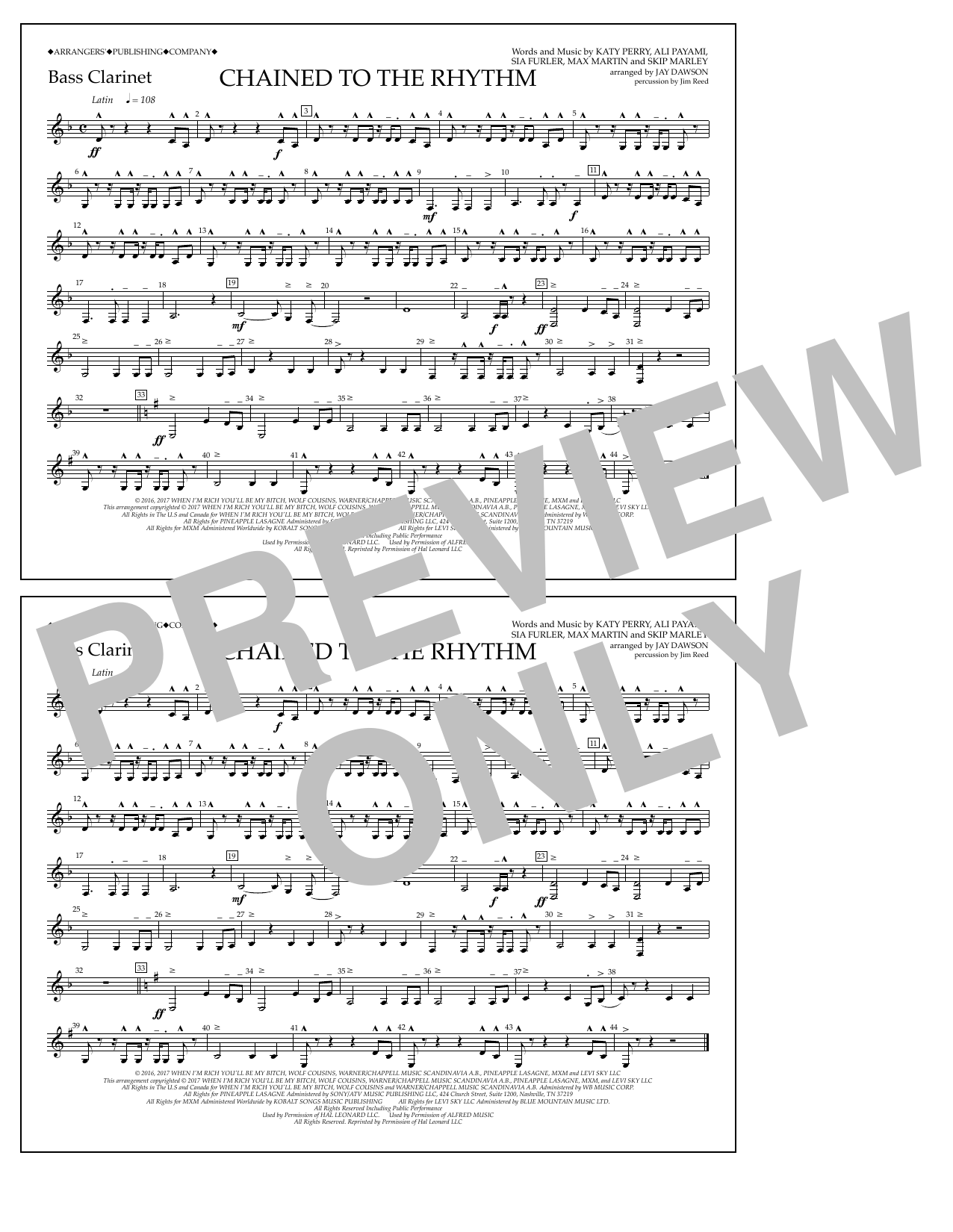 Chained to the Rhythm - Bass Clarinet Sheet Music