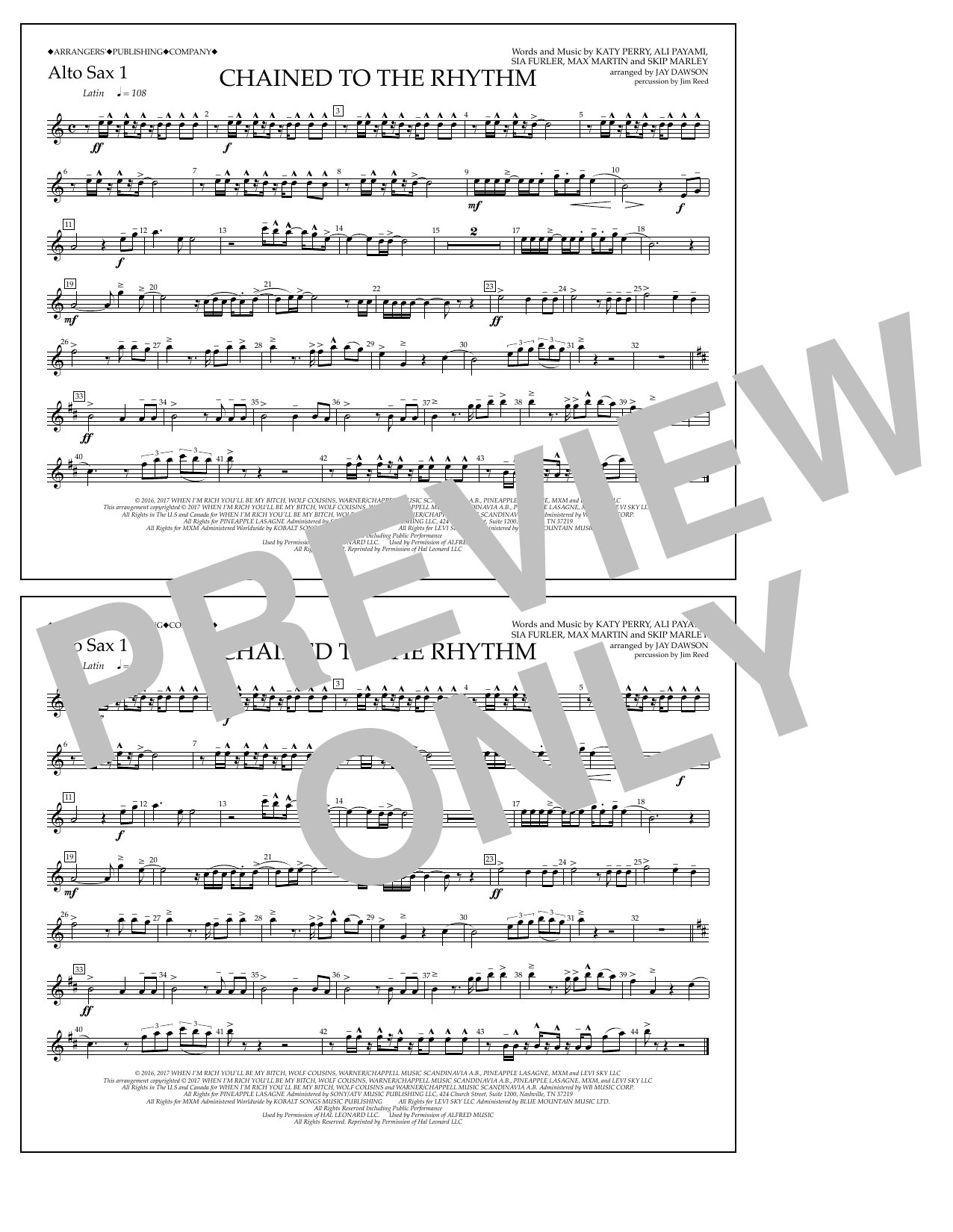 Chained to the Rhythm - Alto Sax 1 Sheet Music