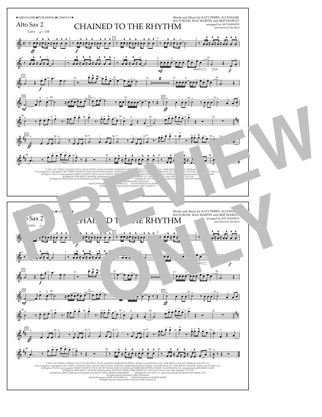 Chained to the Rhythm - Alto Sax 2 Sheet Music