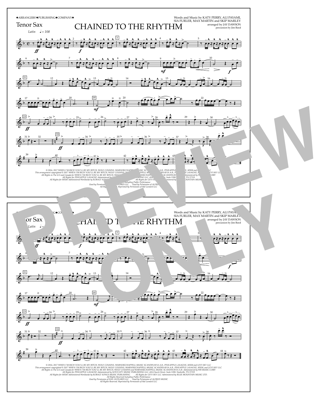 Chained to the Rhythm - Tenor Sax Sheet Music