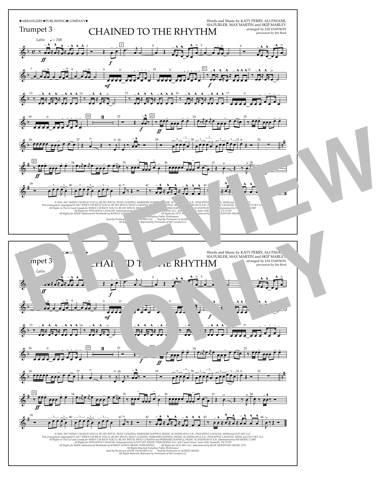 Chained to the Rhythm - Trumpet 3 Sheet Music