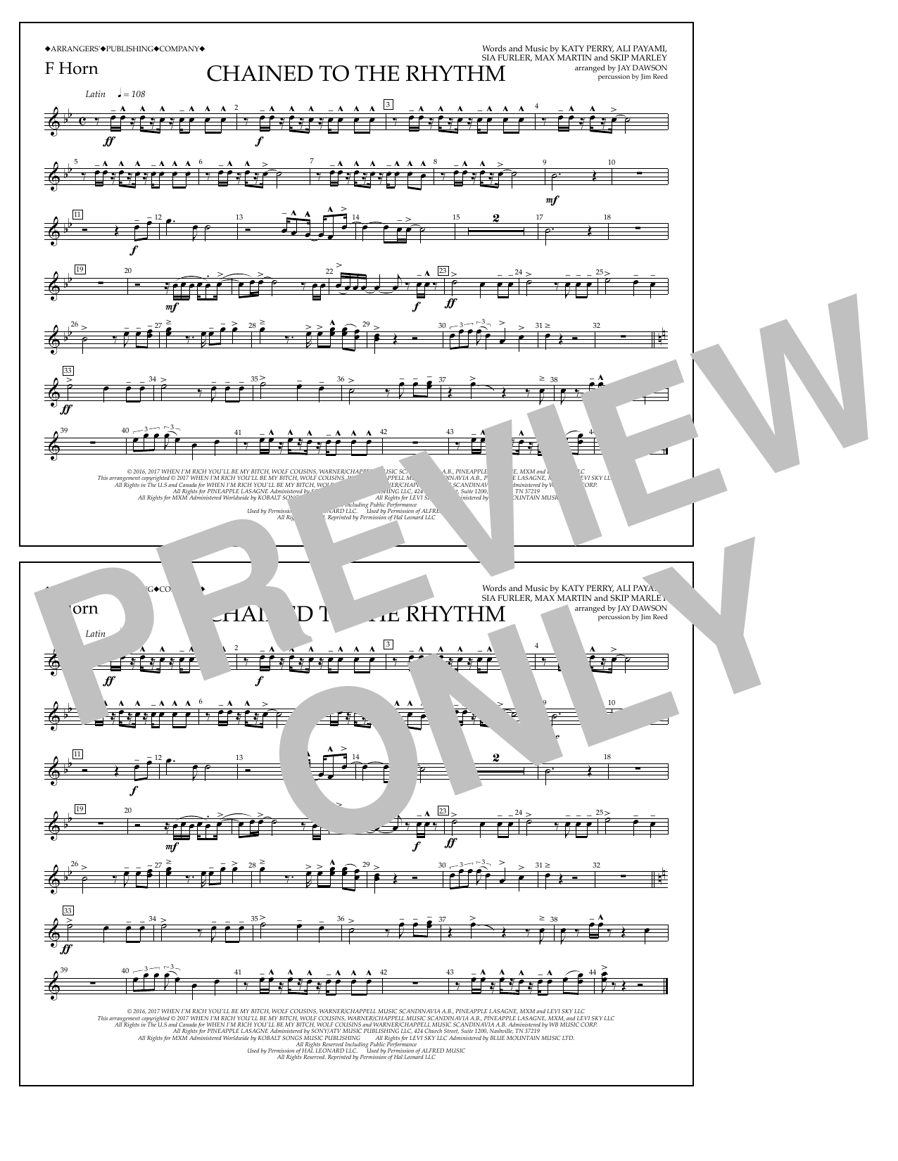Chained to the Rhythm - F Horn Sheet Music