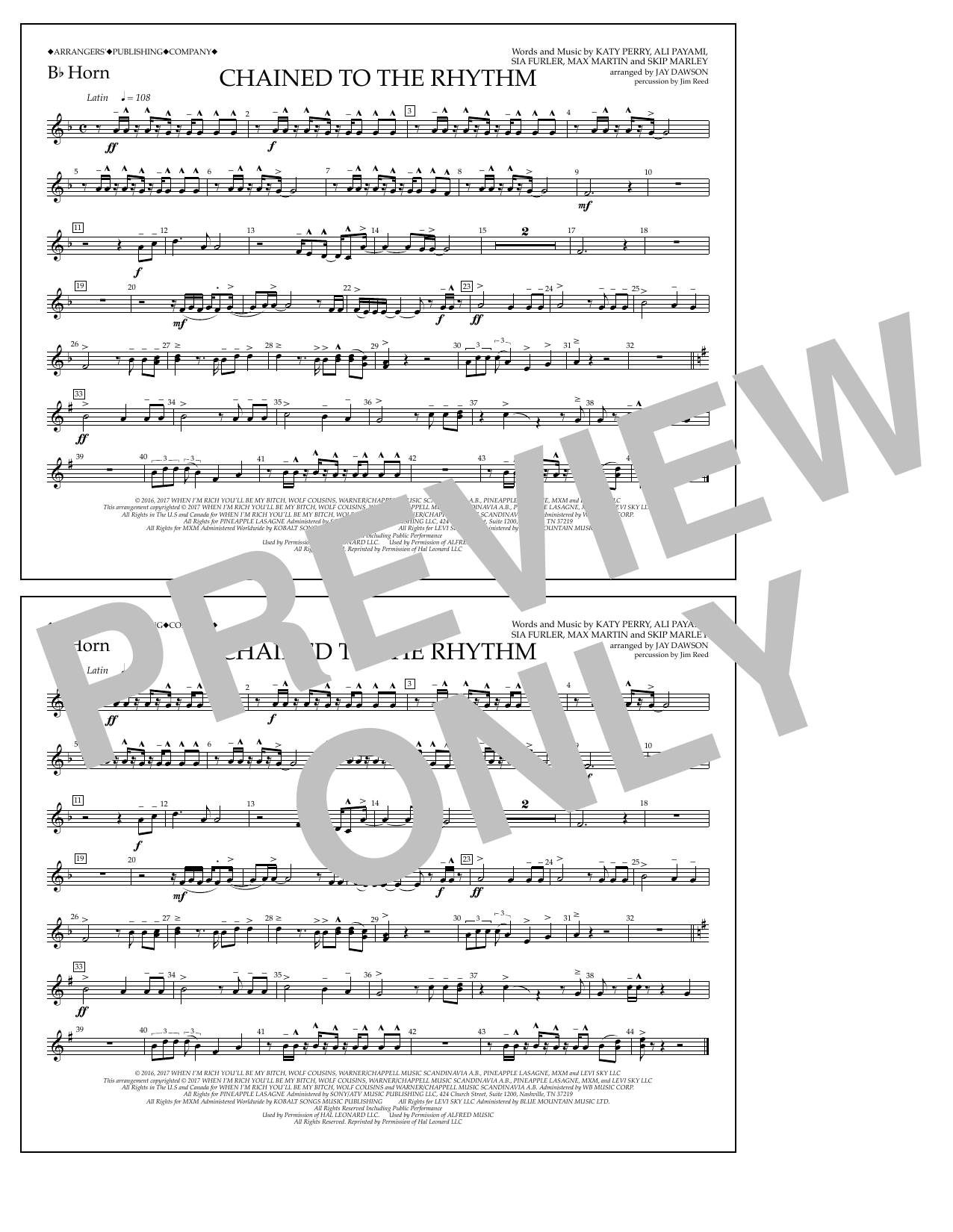 Chained to the Rhythm - Bb Horn Sheet Music