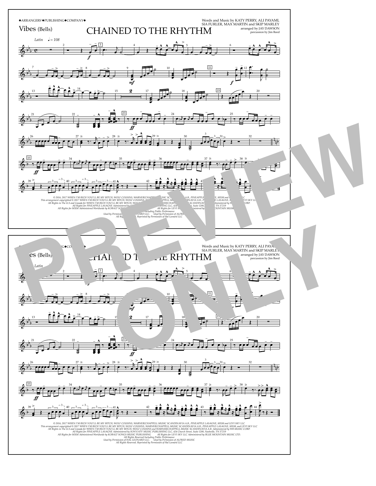Chained to the Rhythm - Vibraphone Sheet Music