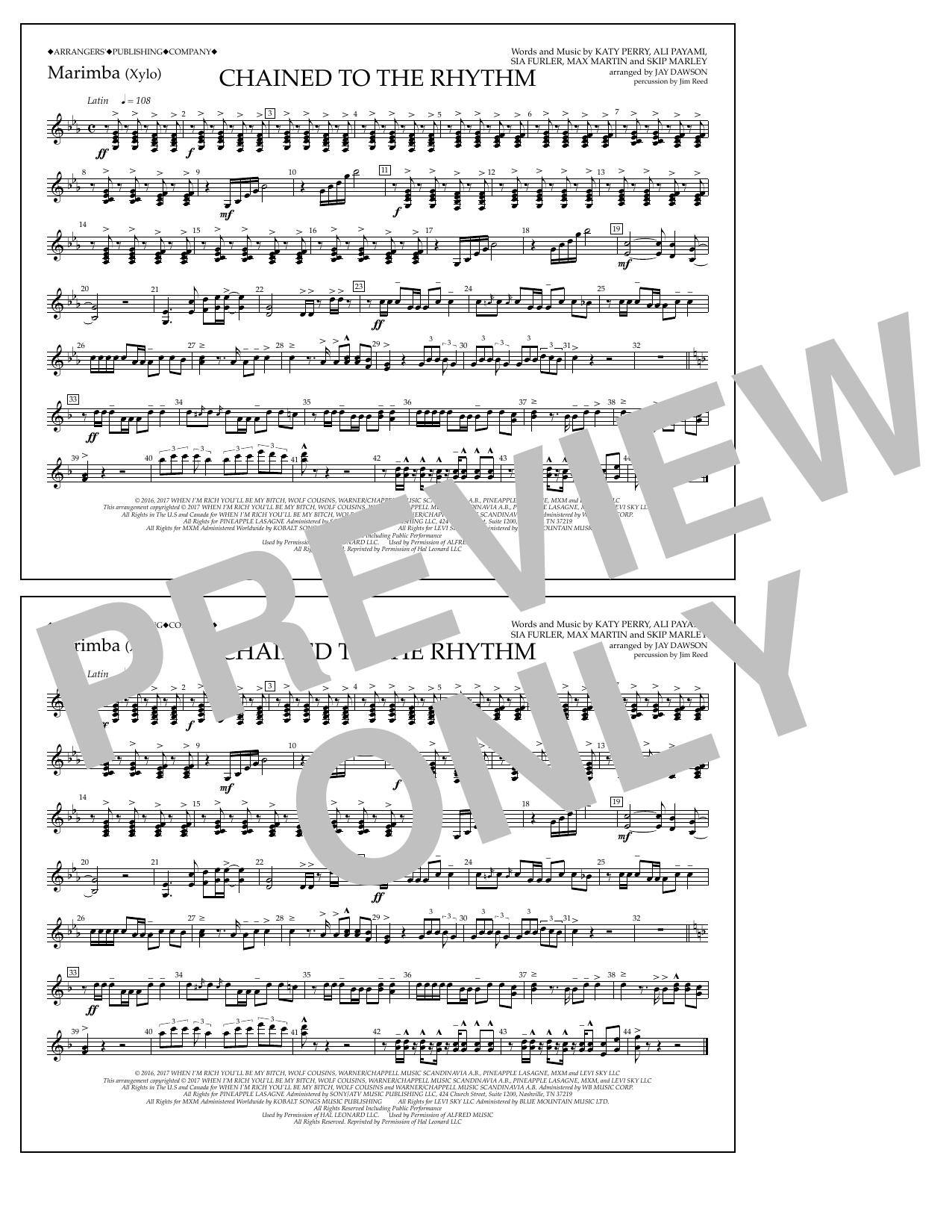 Chained to the Rhythm - Marimba Sheet Music