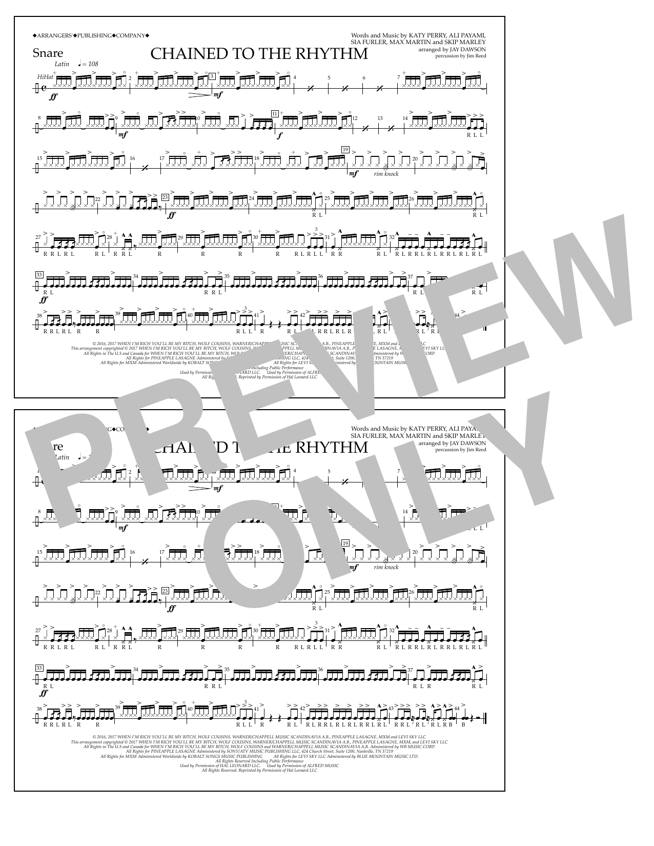 Chained to the Rhythm - Snare Sheet Music