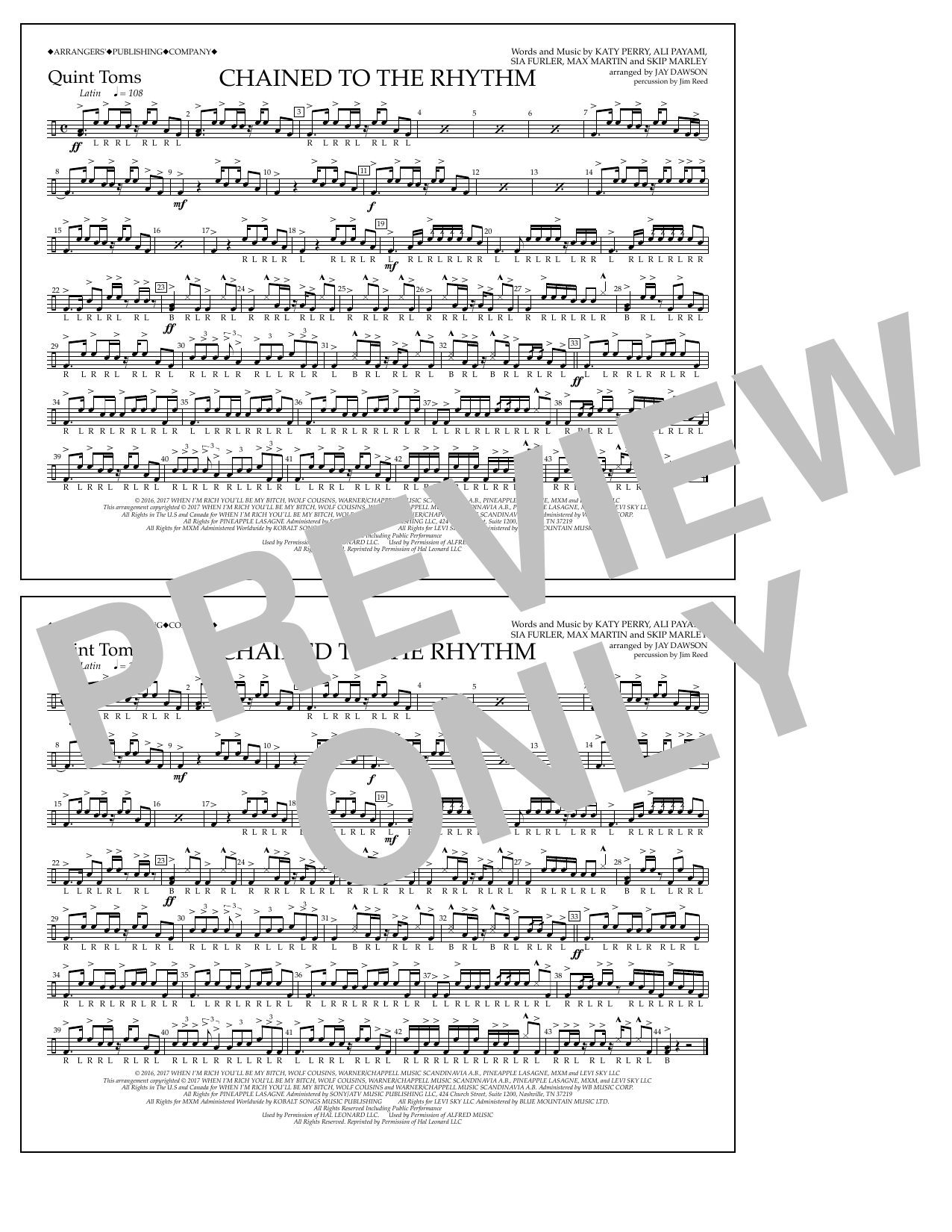 Chained to the Rhythm - Quint-Toms Sheet Music