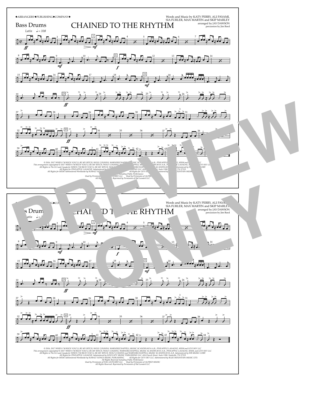 Chained to the Rhythm - Bass Drums Sheet Music