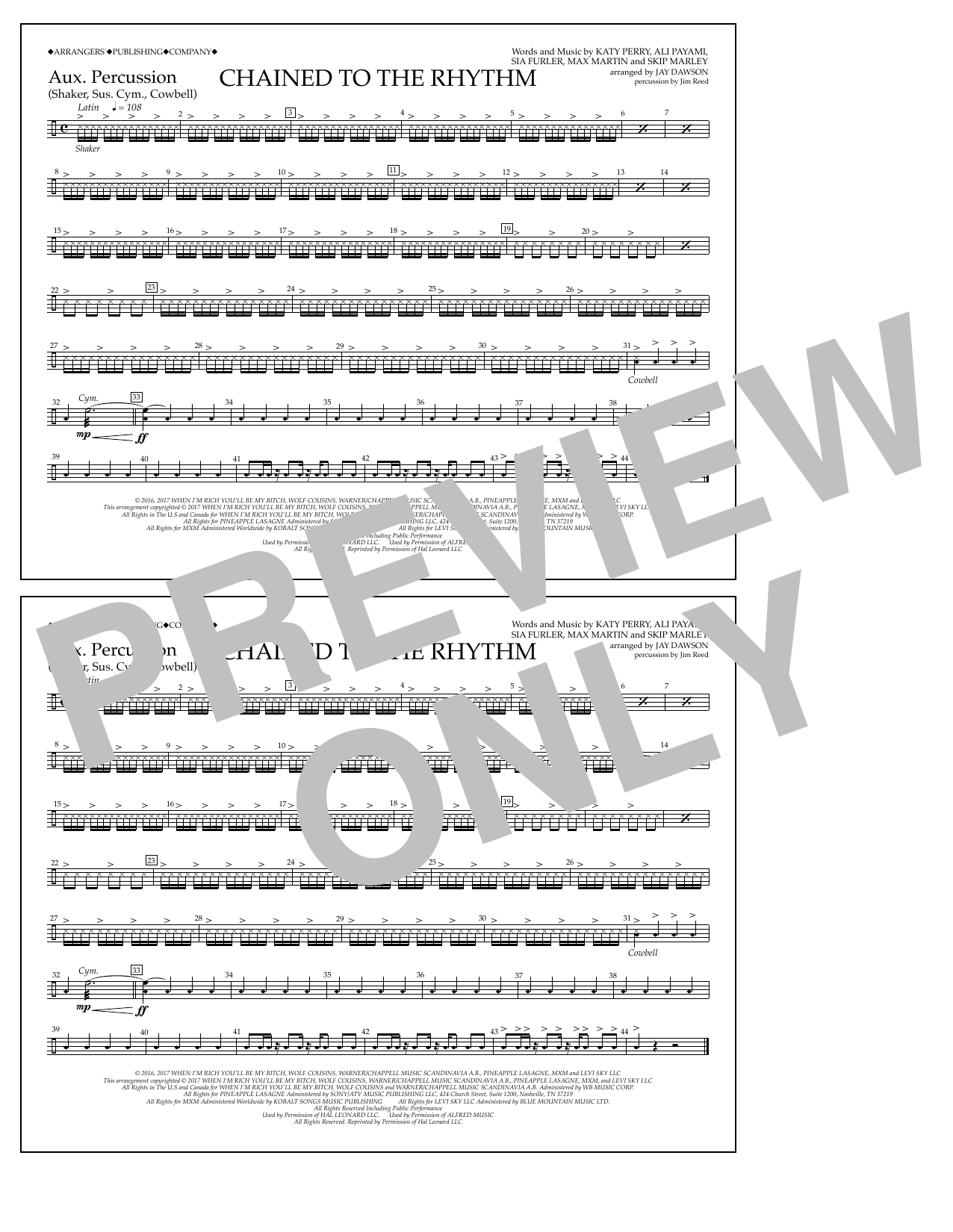 Chained to the Rhythm - Aux. Perc. Sheet Music