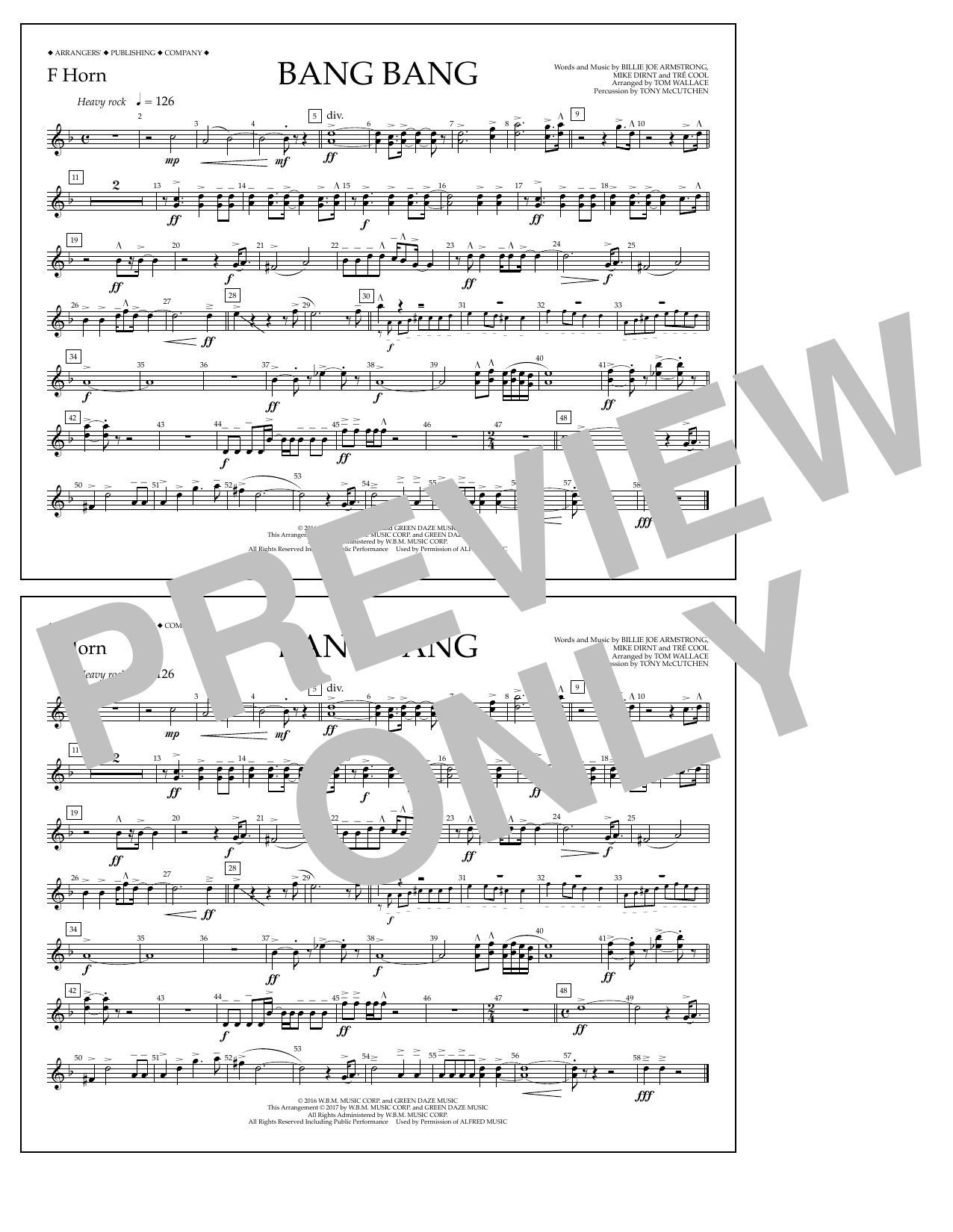 Bang Bang - F Horn Sheet Music