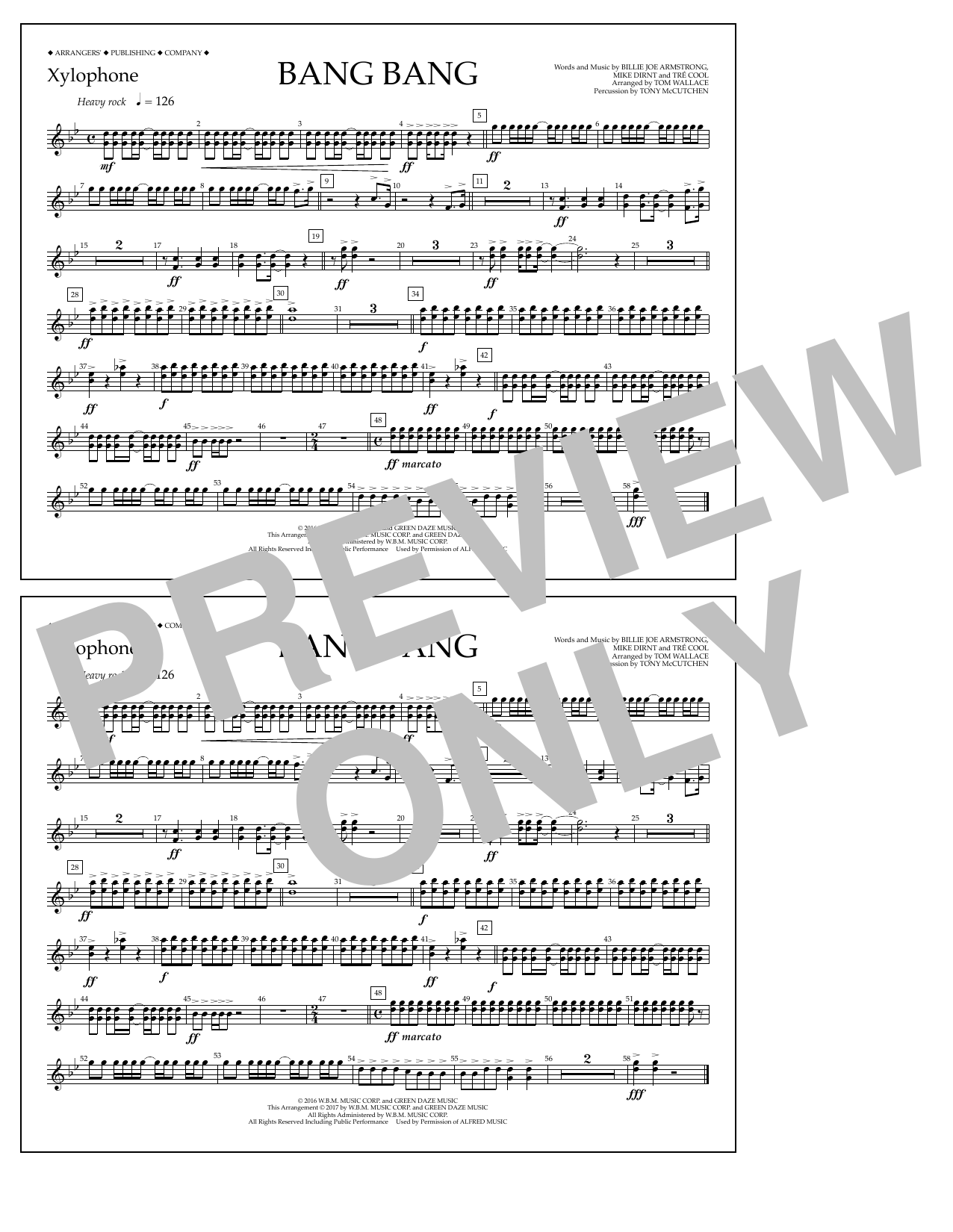 Bang Bang - Xylophone Sheet Music
