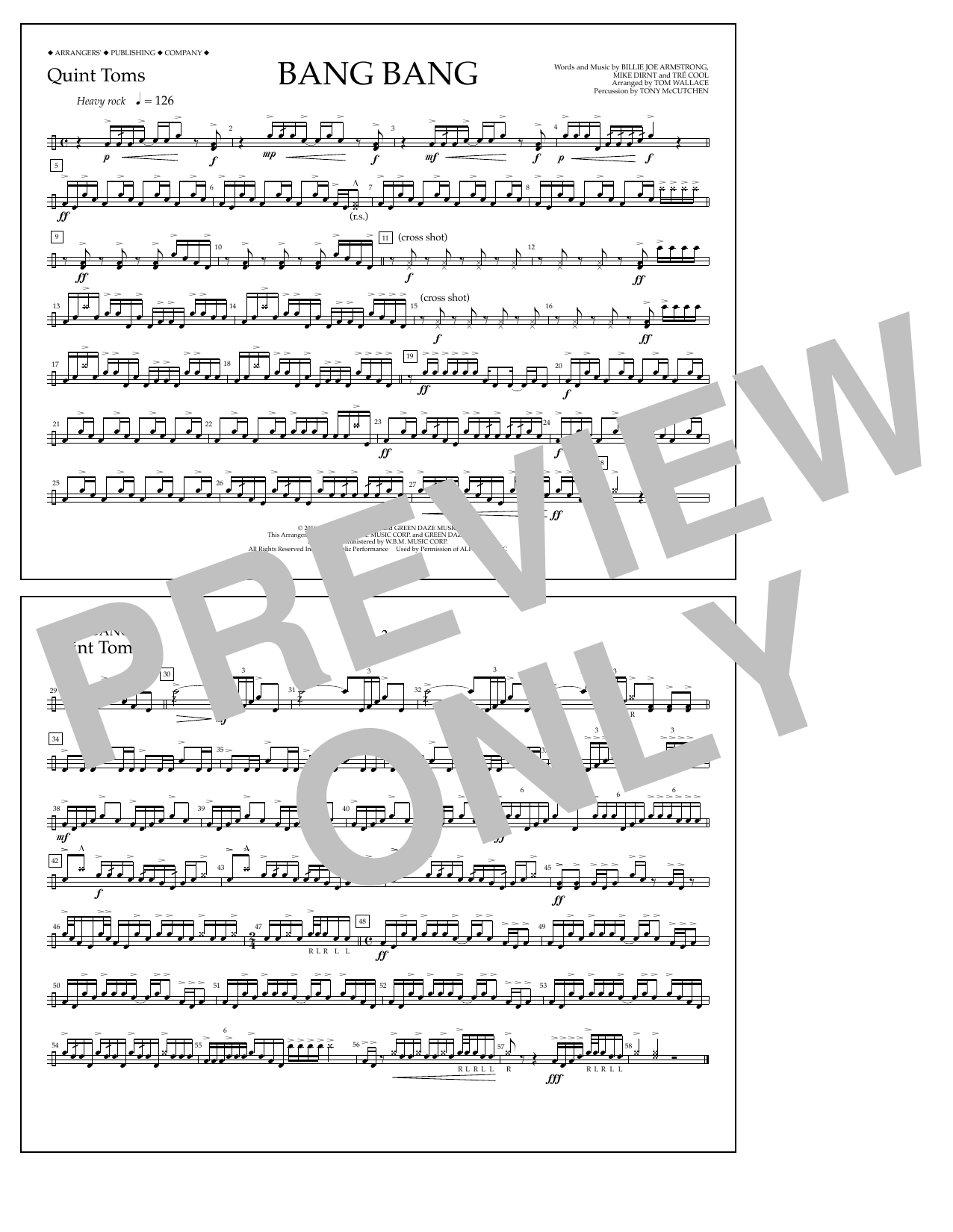 Bang Bang - Quint-Toms Sheet Music