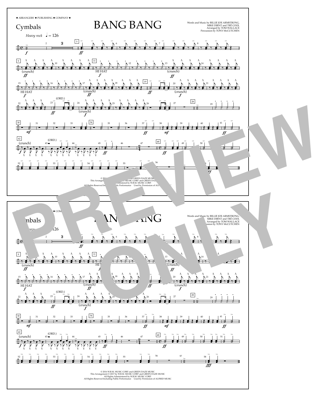 Bang Bang - Cymbals Partition Digitale