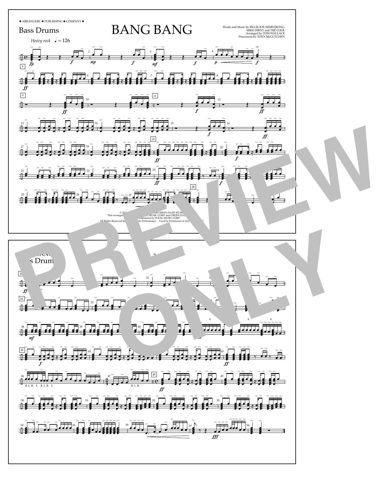 Bang Bang - Bass Drums Sheet Music