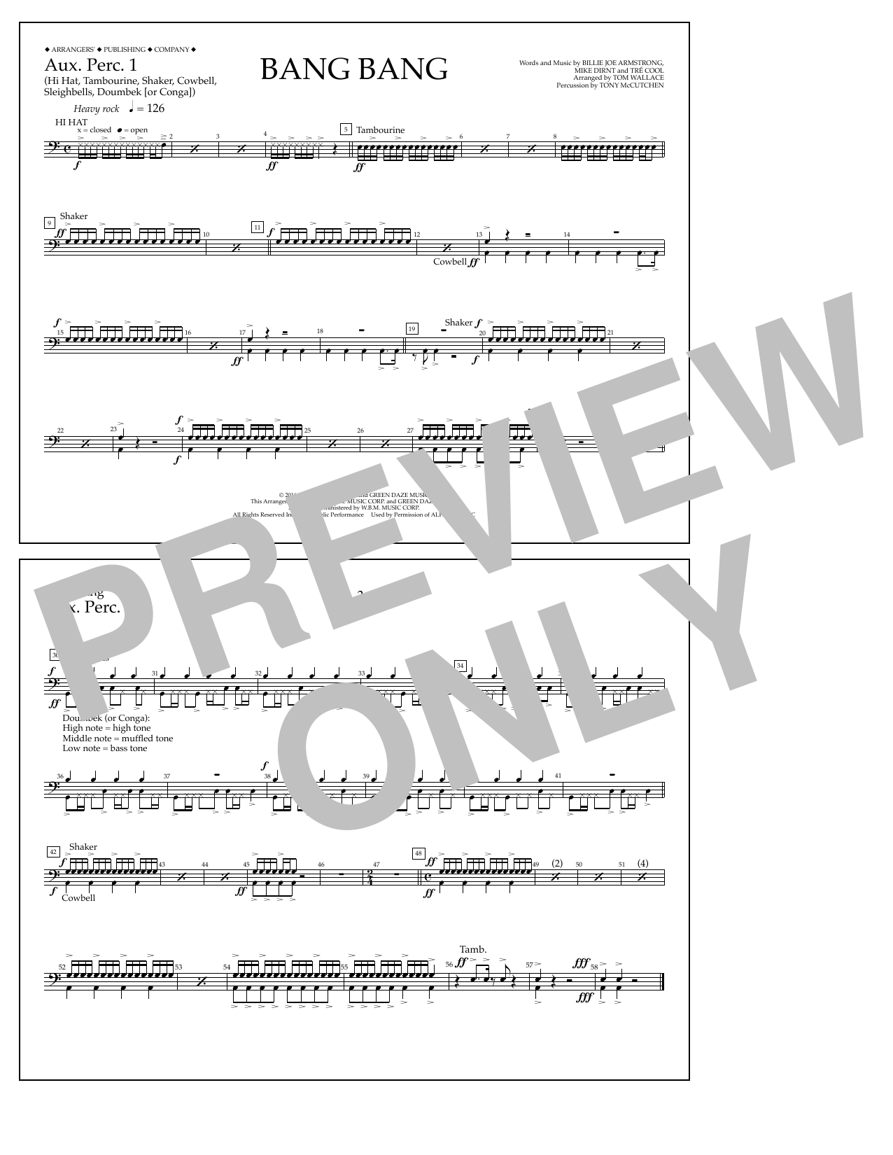 Bang Bang - Aux. Perc. 1 Sheet Music