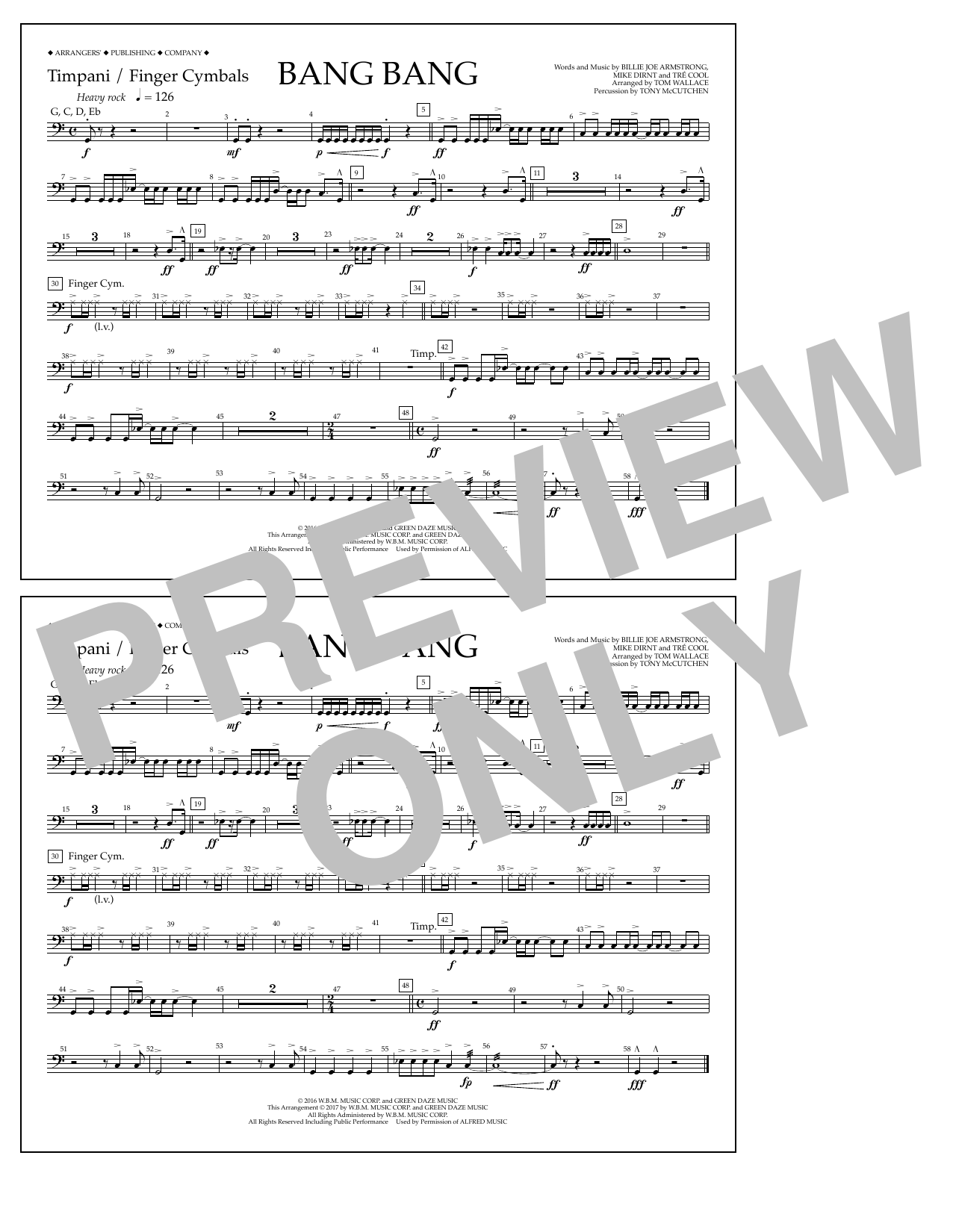 Bang Bang - Timpani/Finger Cym. Sheet Music