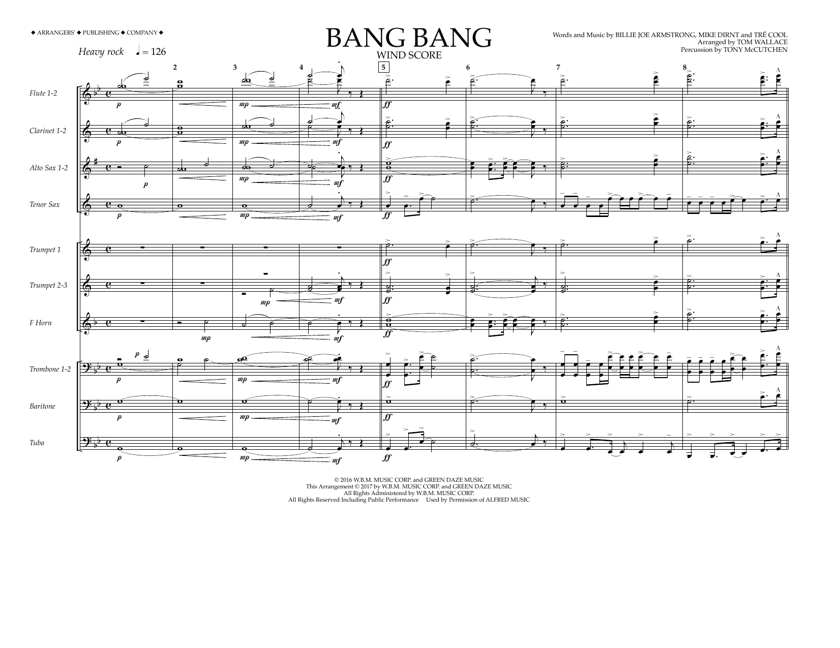 Bang Bang - Wind Score Sheet Music