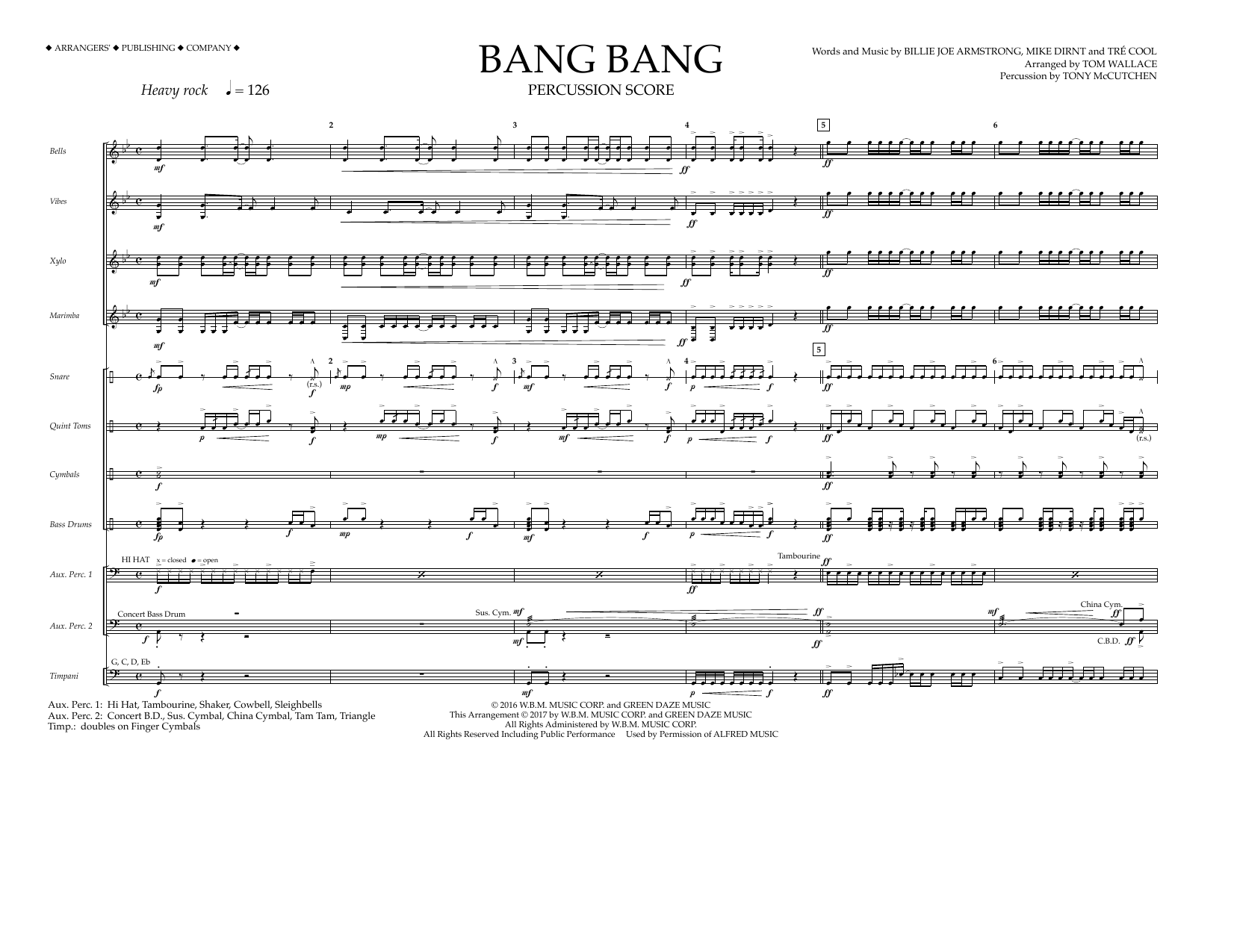 Bang Bang - Percussion Score Sheet Music