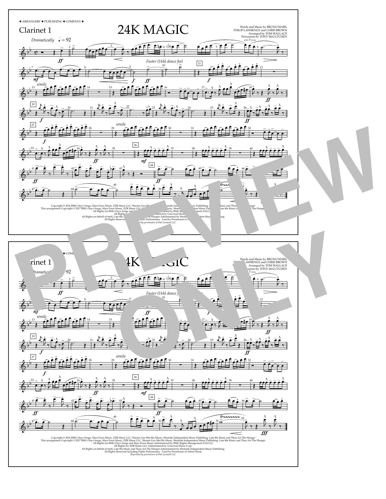 24K Magic - Clarinet 1 Sheet Music