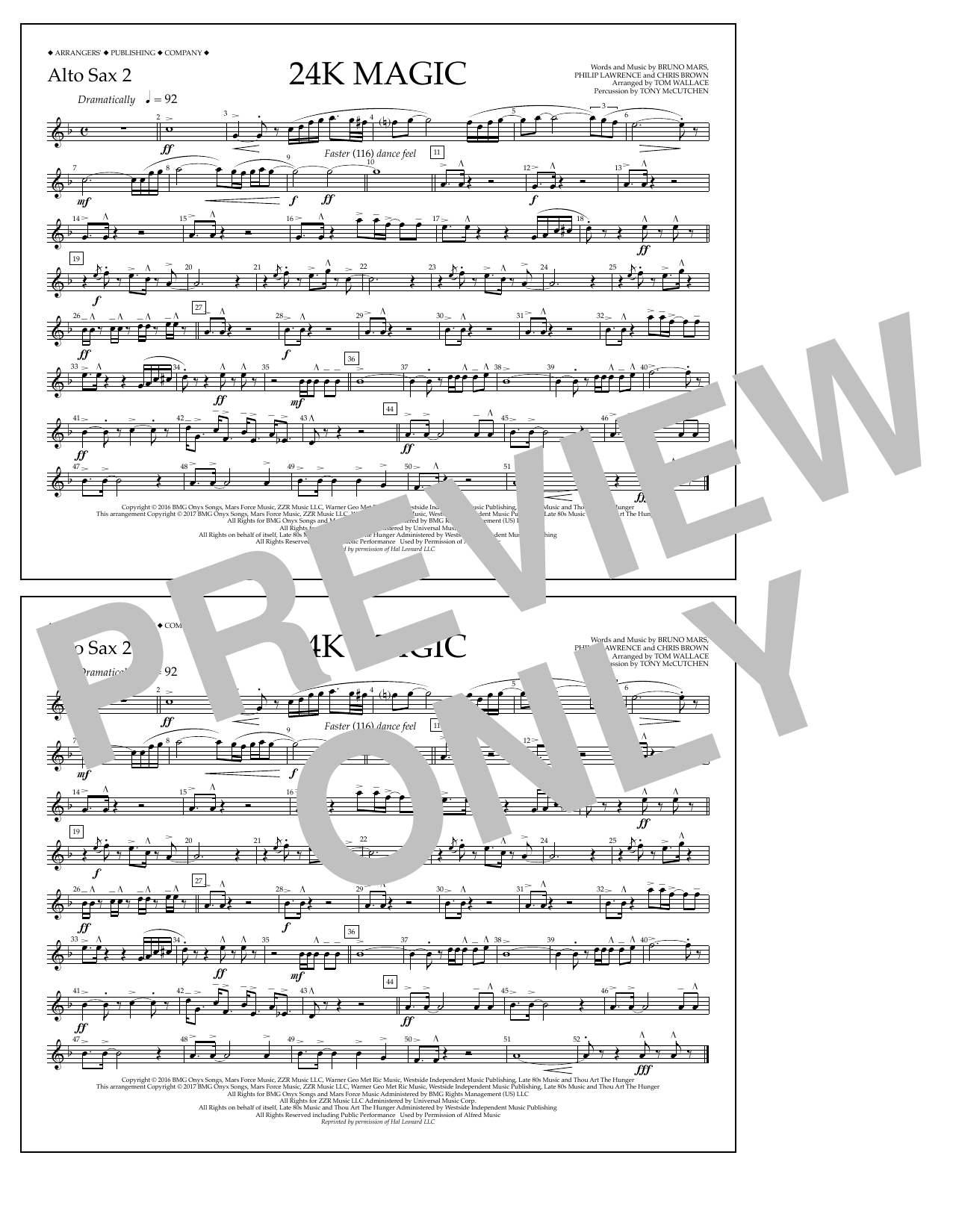 24K Magic - Alto Sax 2 Sheet Music