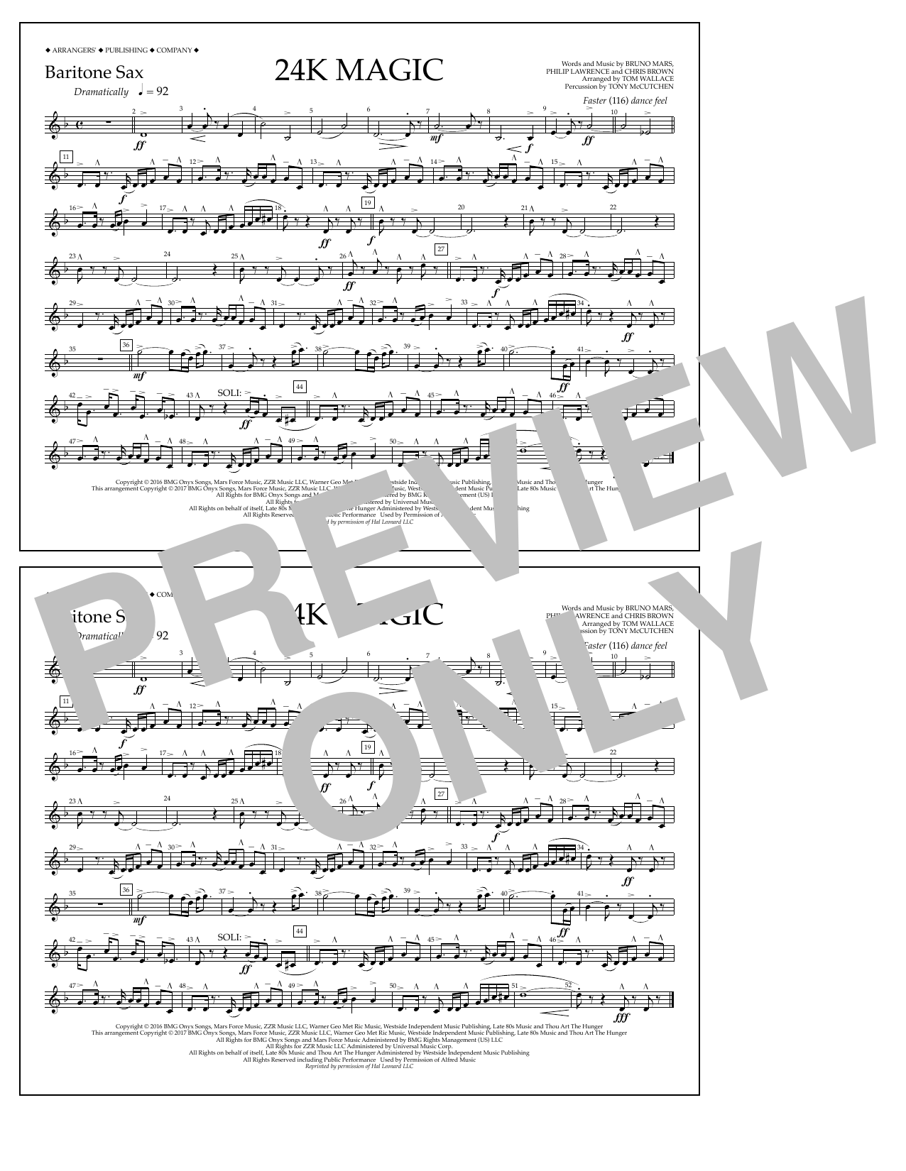 24K Magic - Baritone Sax Sheet Music