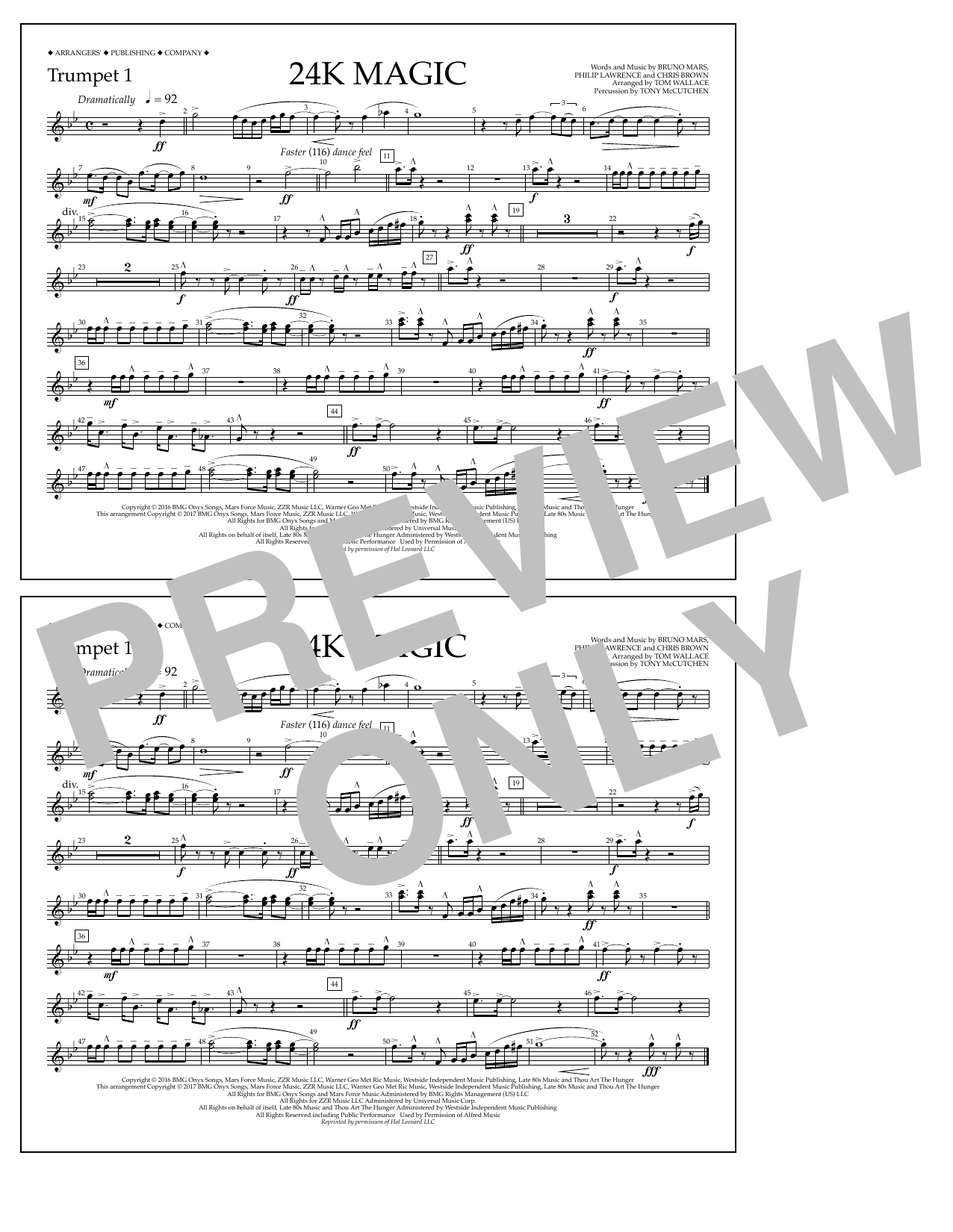 24K Magic - Trumpet 1 Sheet Music