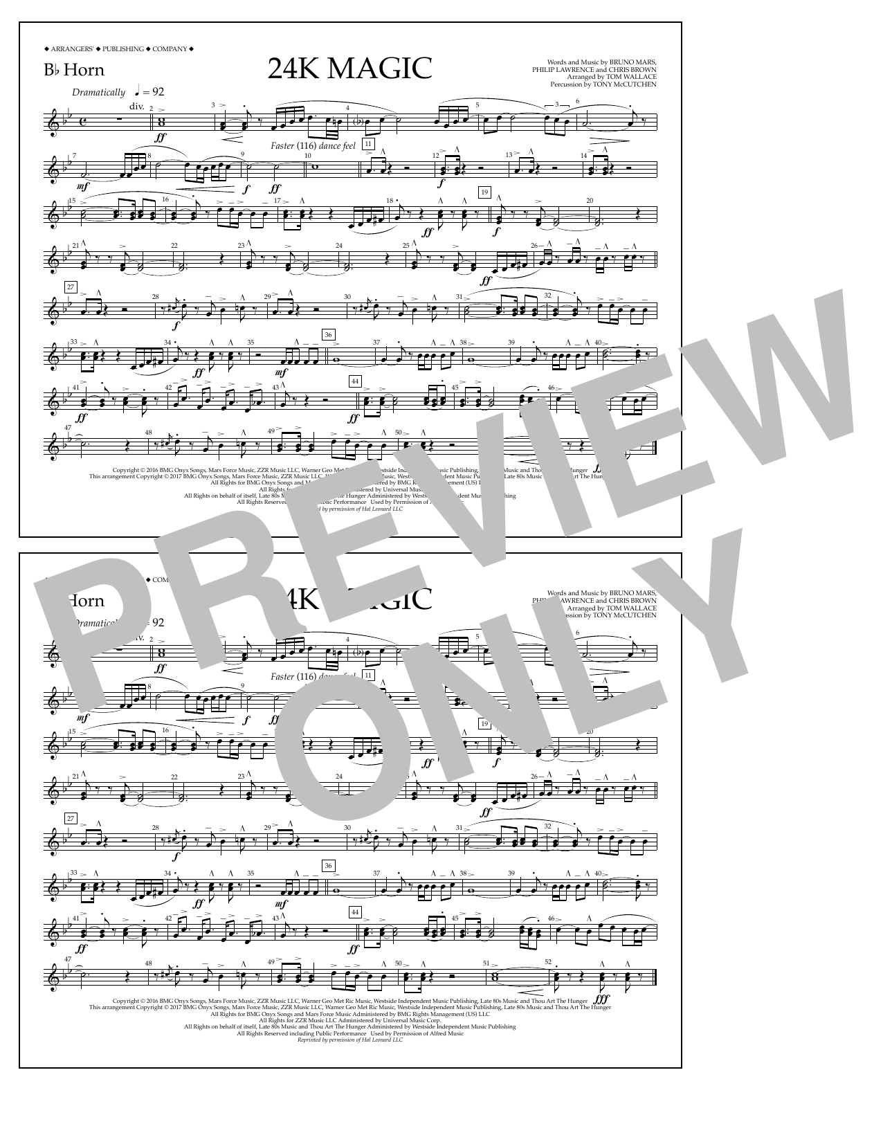 24K Magic - Bb Horn Sheet Music