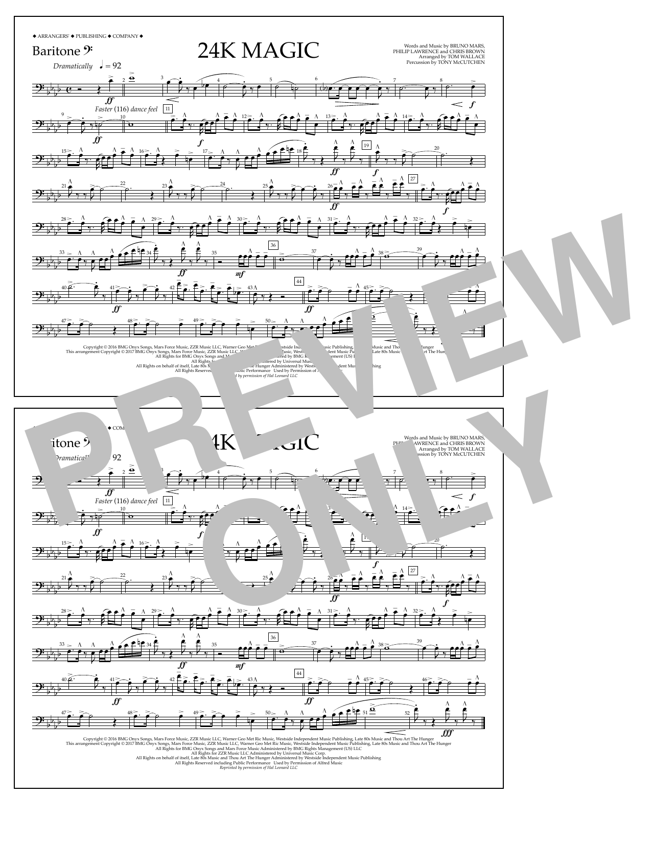 24K Magic - Baritone B.C. Sheet Music