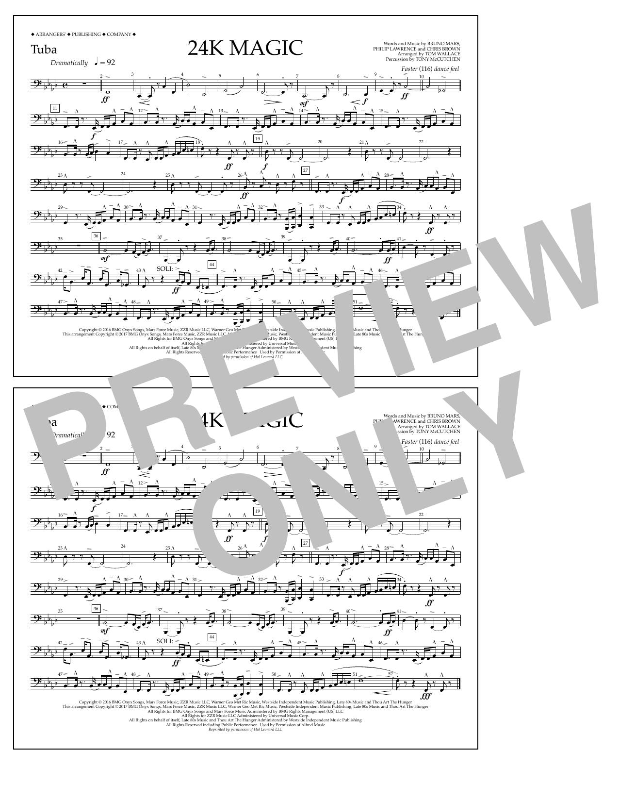 24K Magic - Tuba Sheet Music