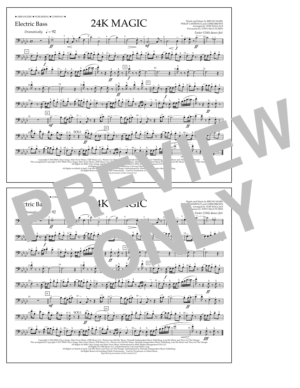 24K Magic - Electric Bass Sheet Music