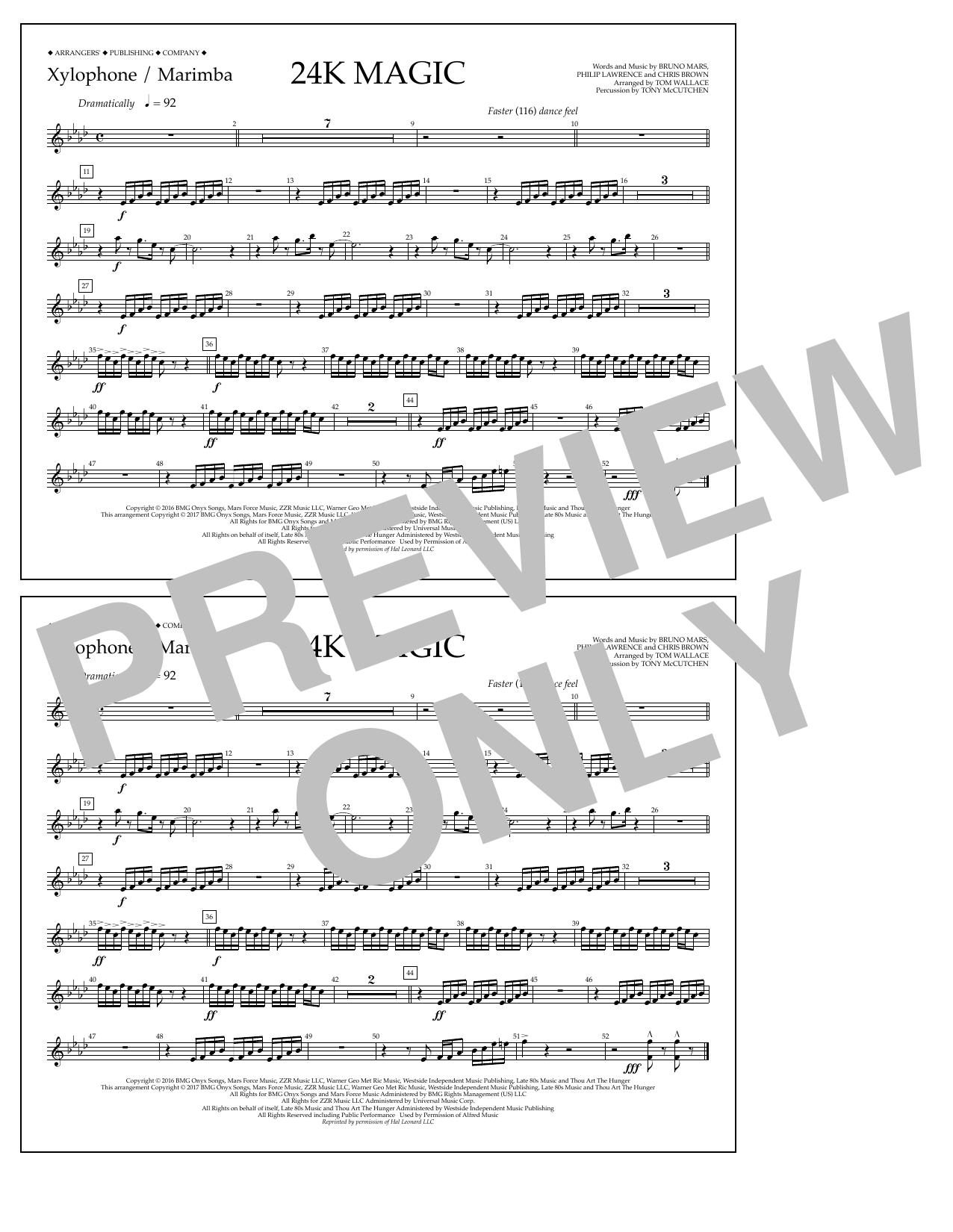 24K Magic - Xylophone/Marimba Sheet Music
