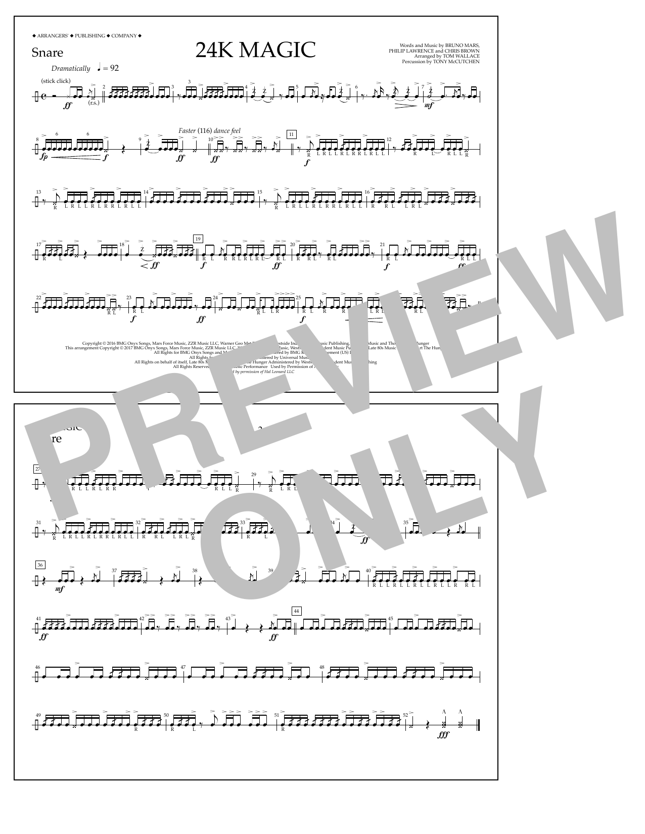 24K Magic - Snare Sheet Music